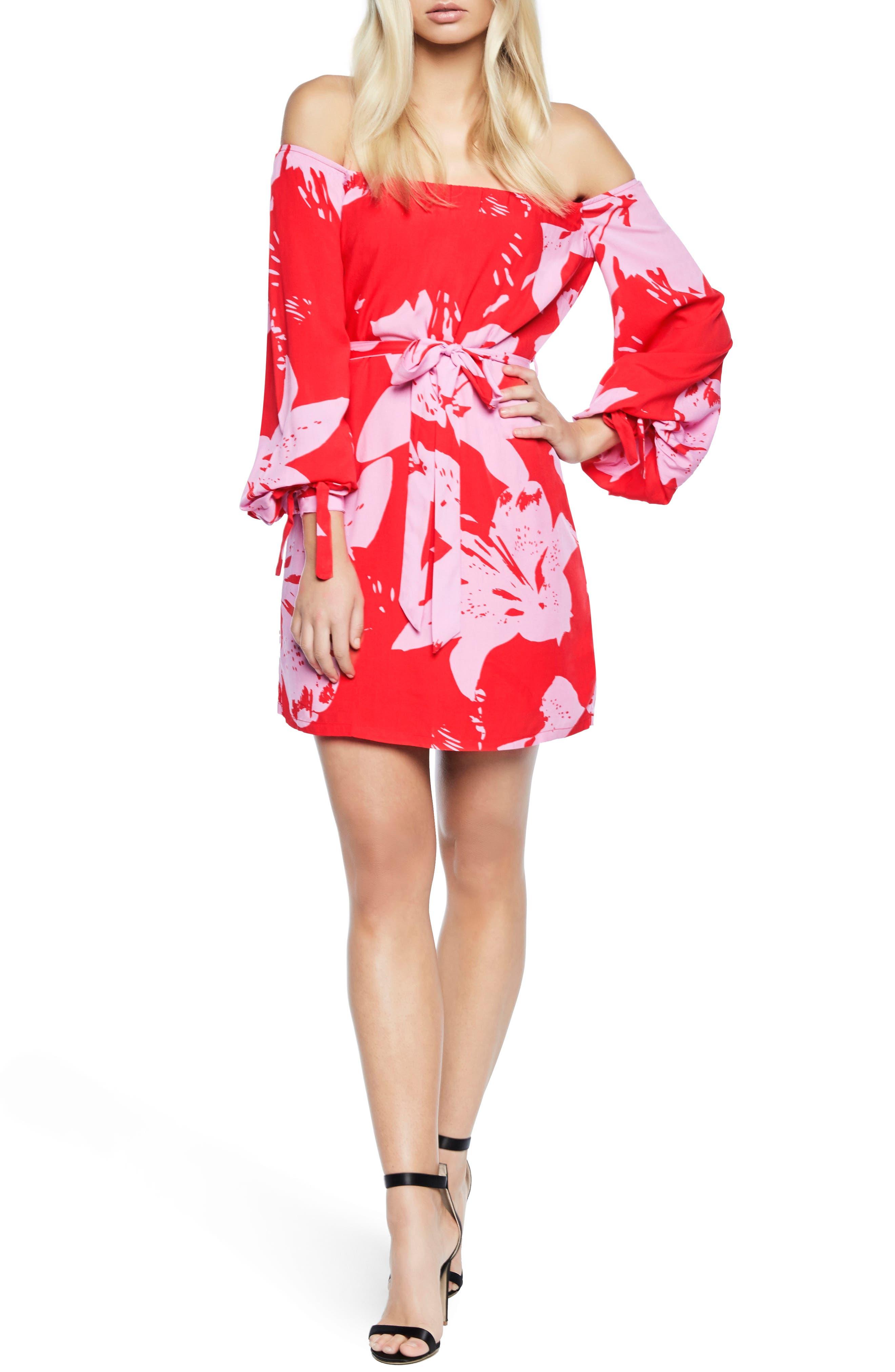 Dariela Off the Shoulder Minidress,                         Main,                         color, Star Lily