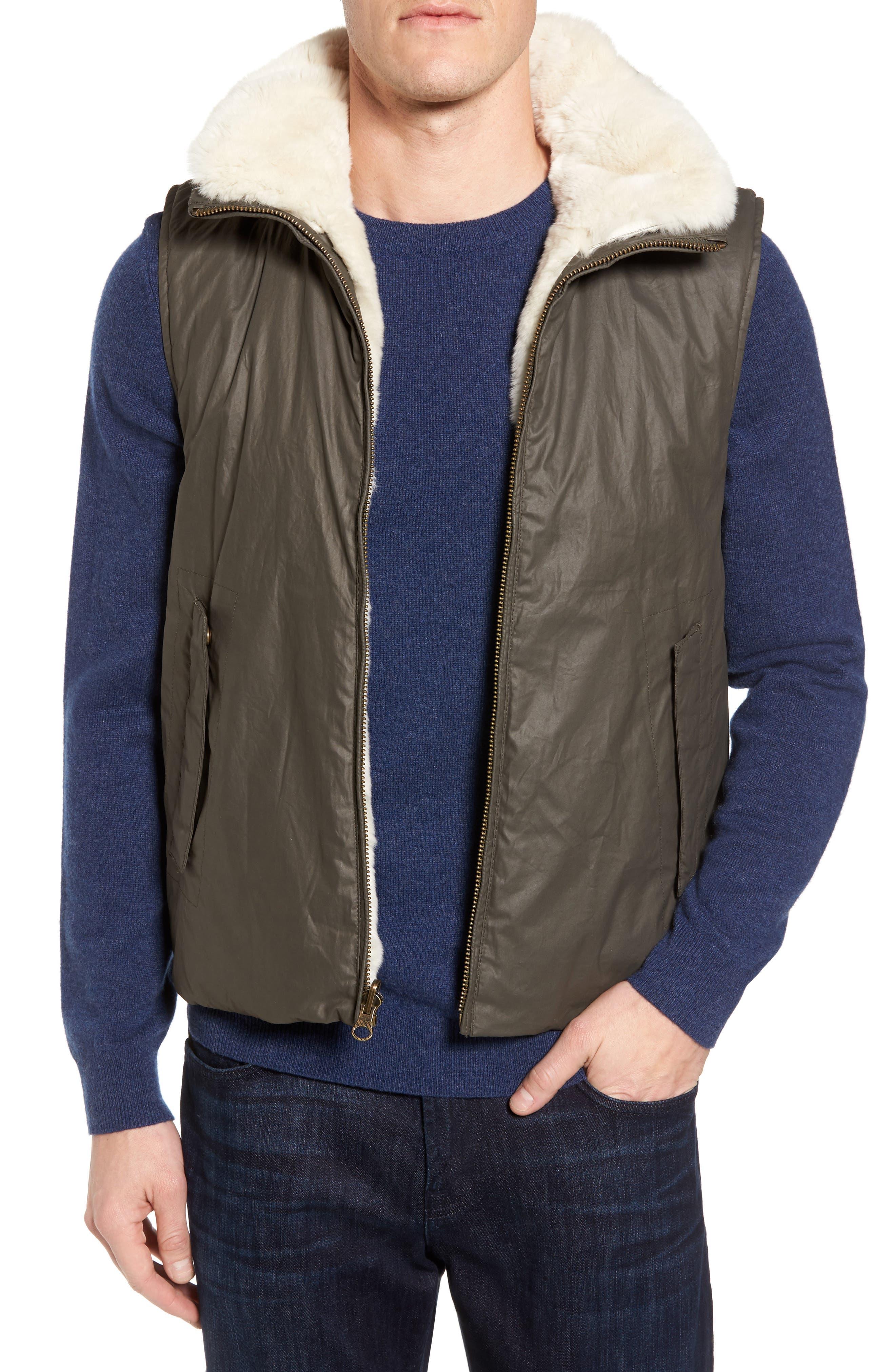 Water-Resistant Genuine Rabbit Fur Lined Vest,                         Main,                         color, Dark Olive