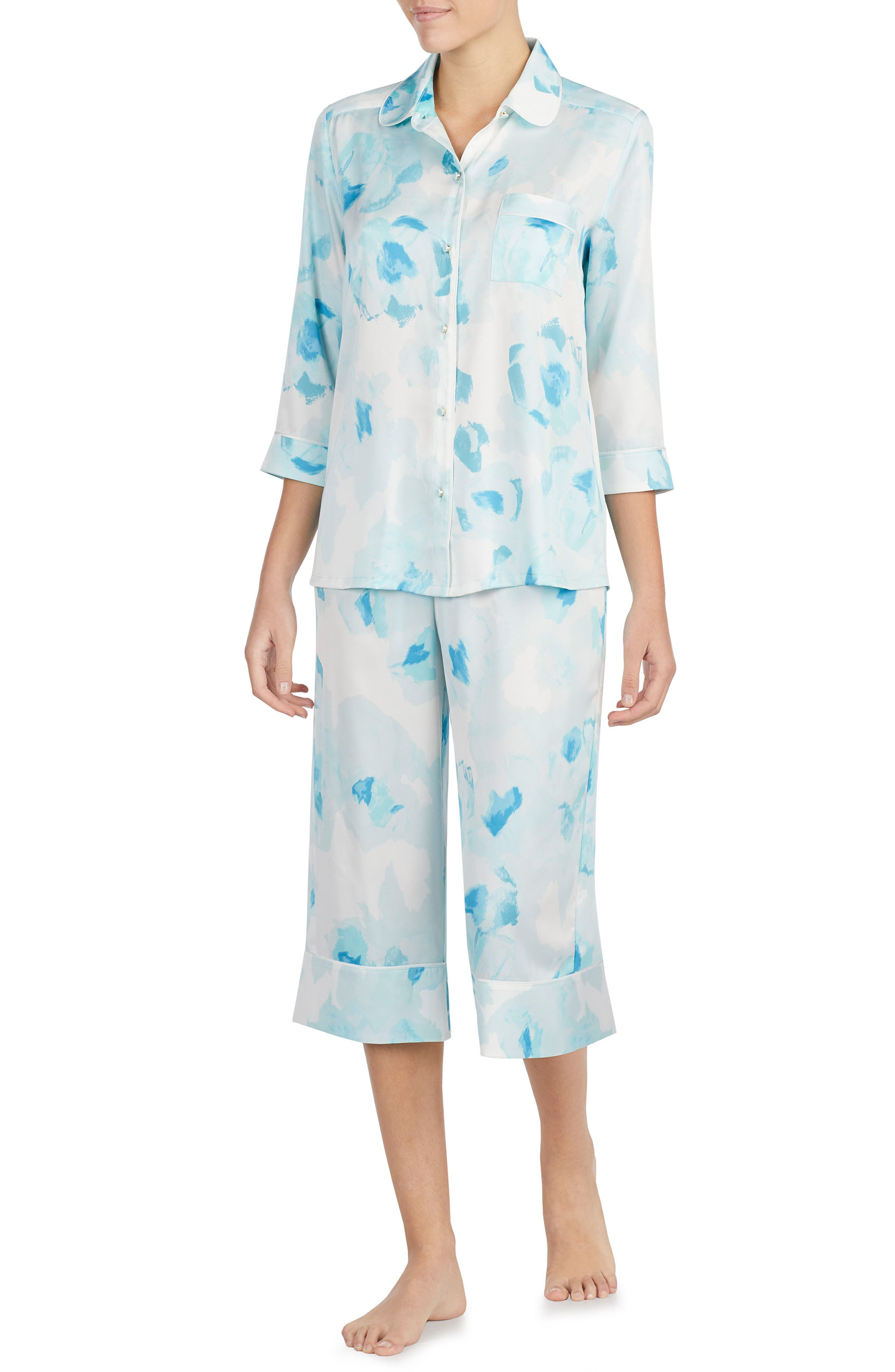 print charmeuse crop pajamas,                             Main thumbnail 1, color,                             Moroccan Rose