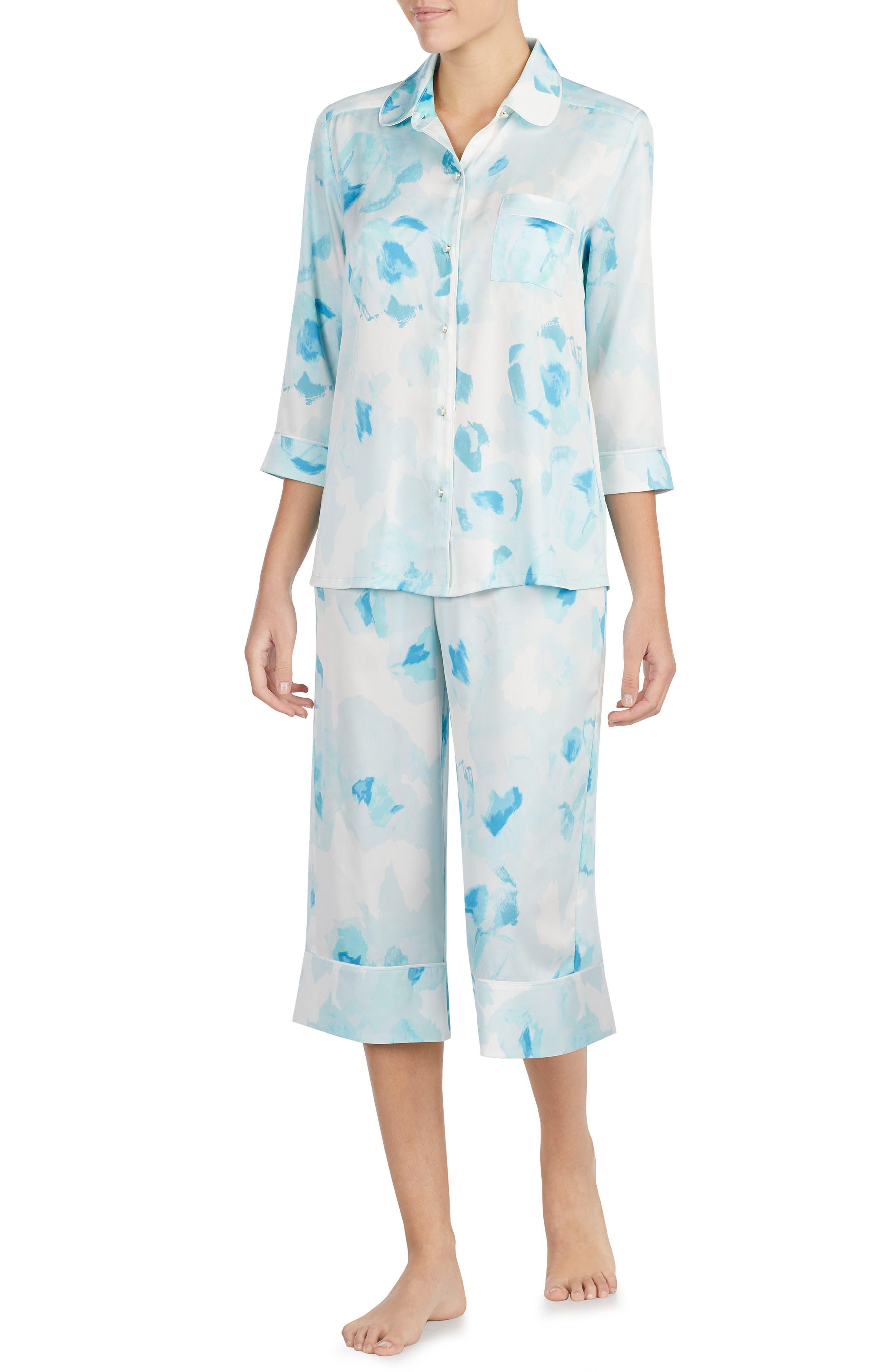 print charmeuse crop pajamas,                         Main,                         color, Moroccan Rose