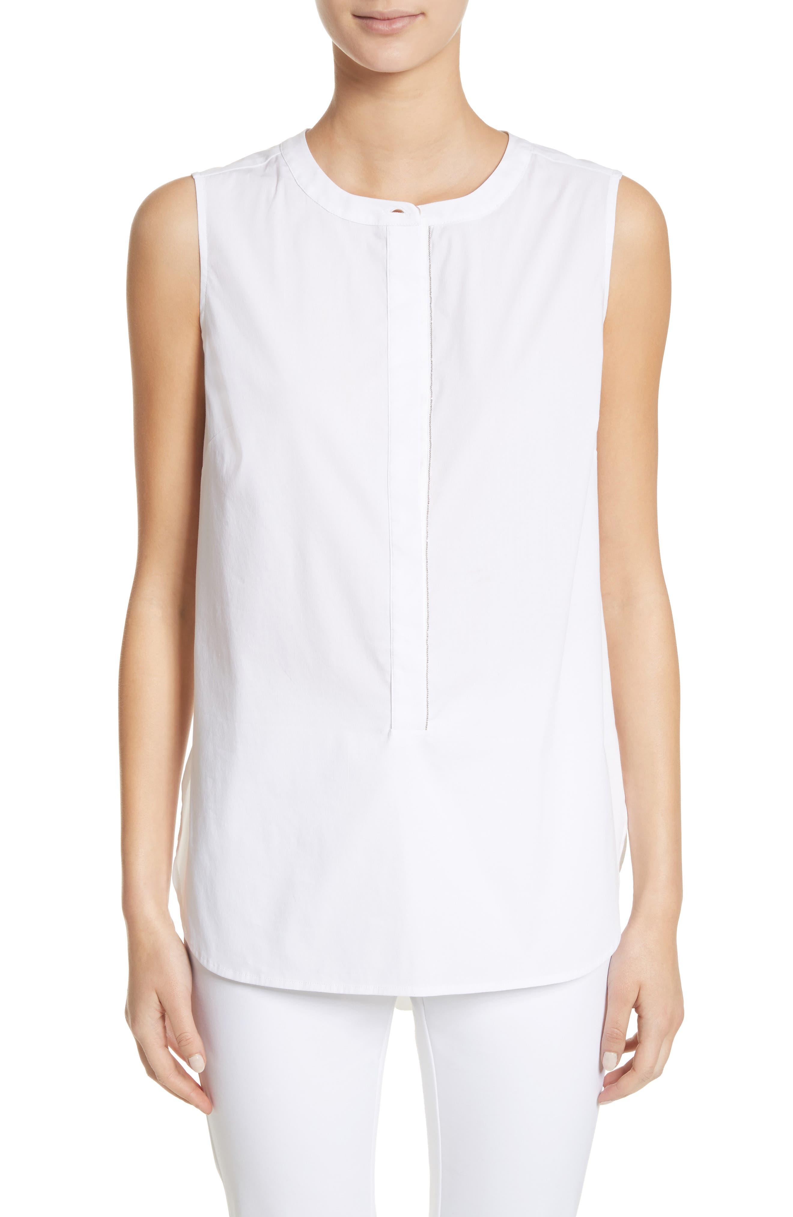 Stretch Shirting Sleeveless Top,                         Main,                         color, Bianco