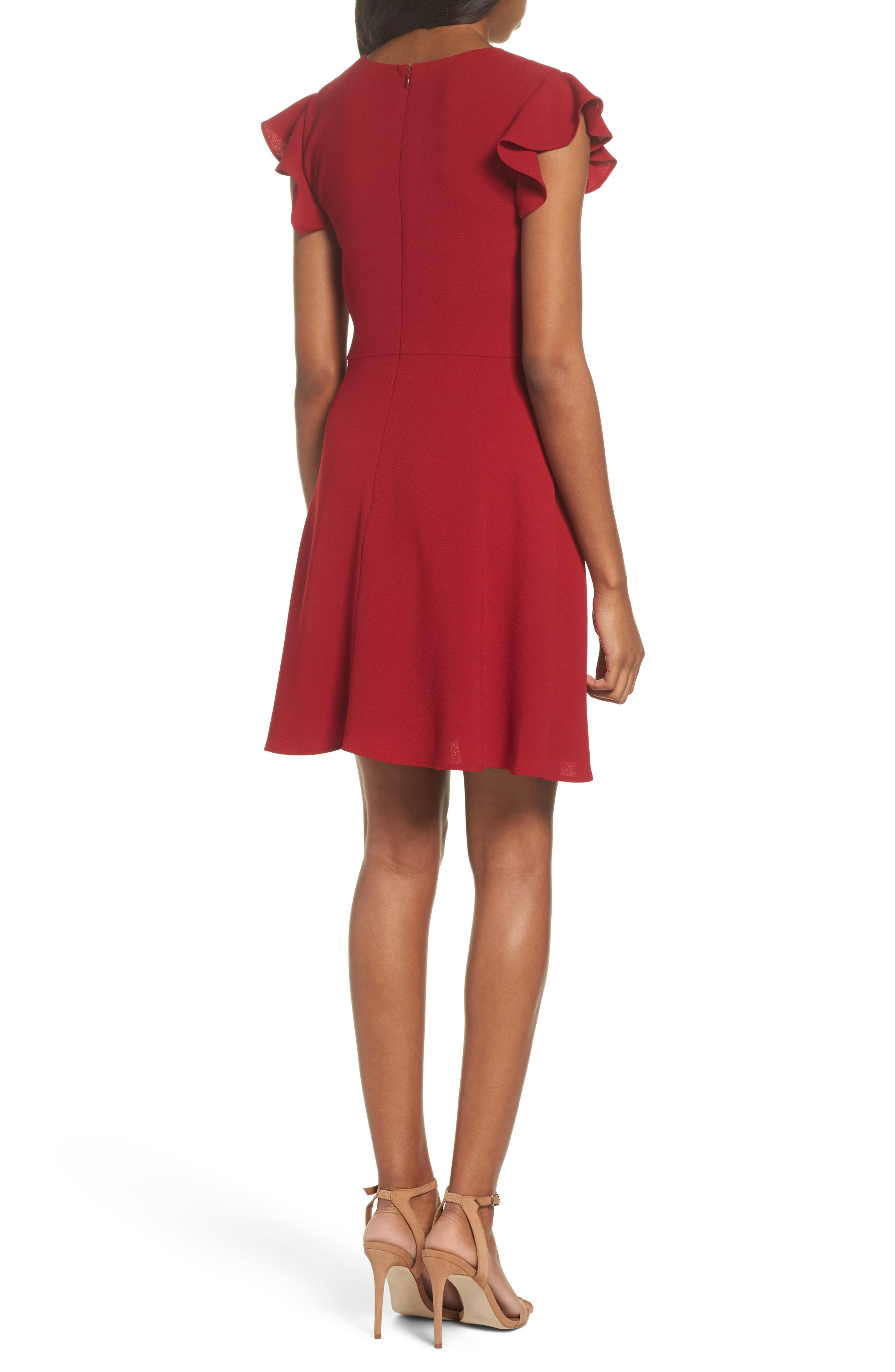 Fit & Flare Dress,                             Alternate thumbnail 2, color,                             Garnet