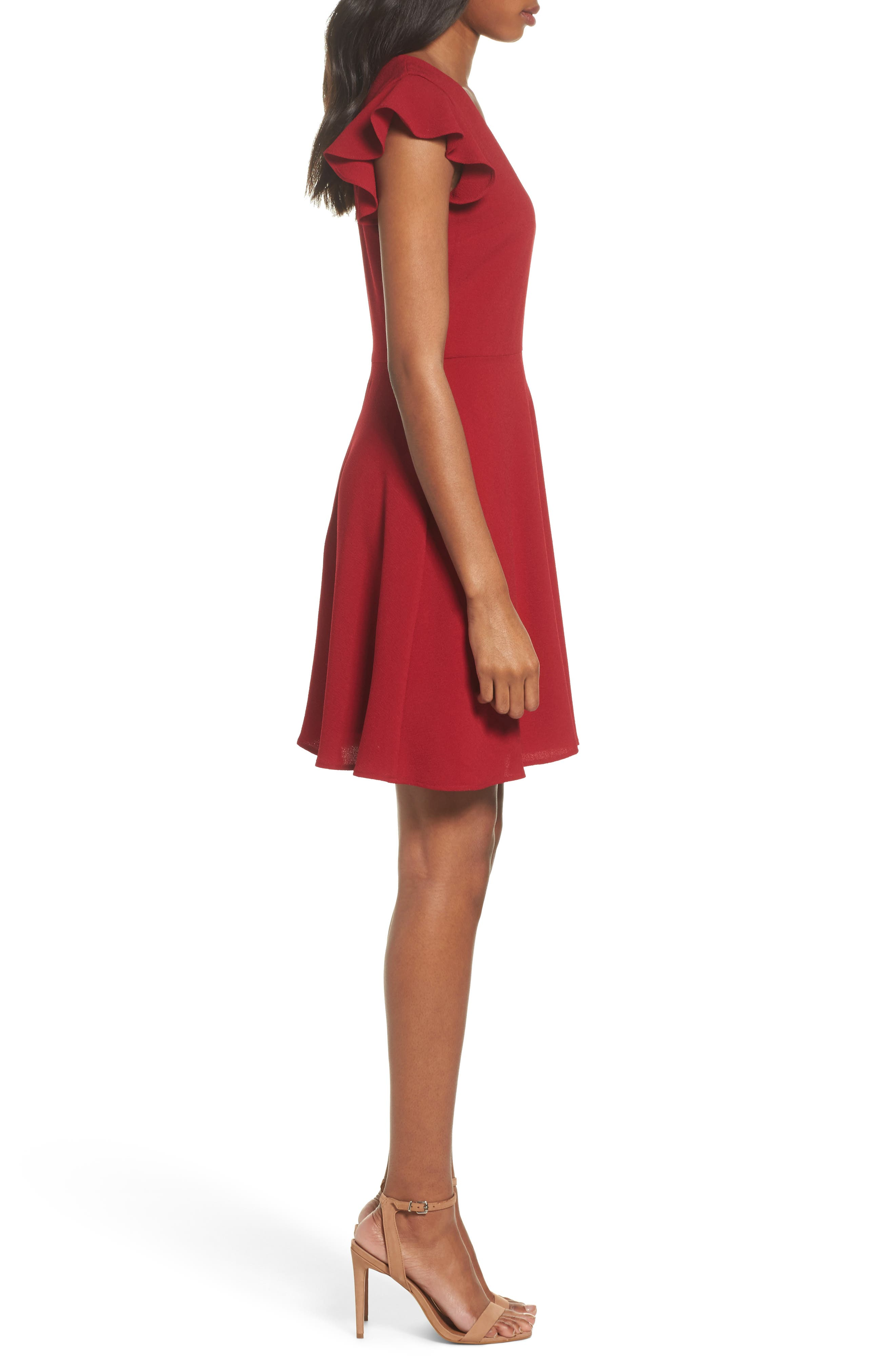 Fit & Flare Dress,                             Alternate thumbnail 3, color,                             Garnet