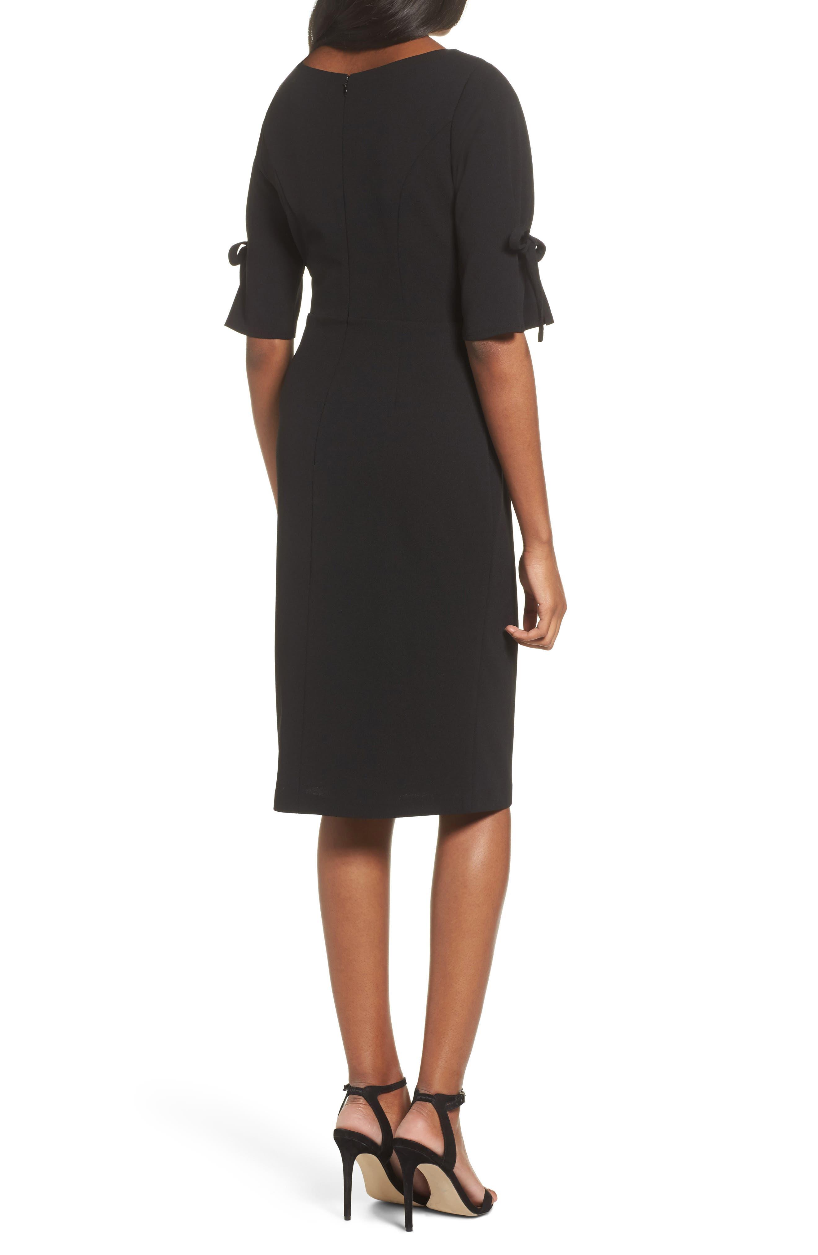 Tie Sleeve Sheath Dress,                             Alternate thumbnail 2, color,                             Black