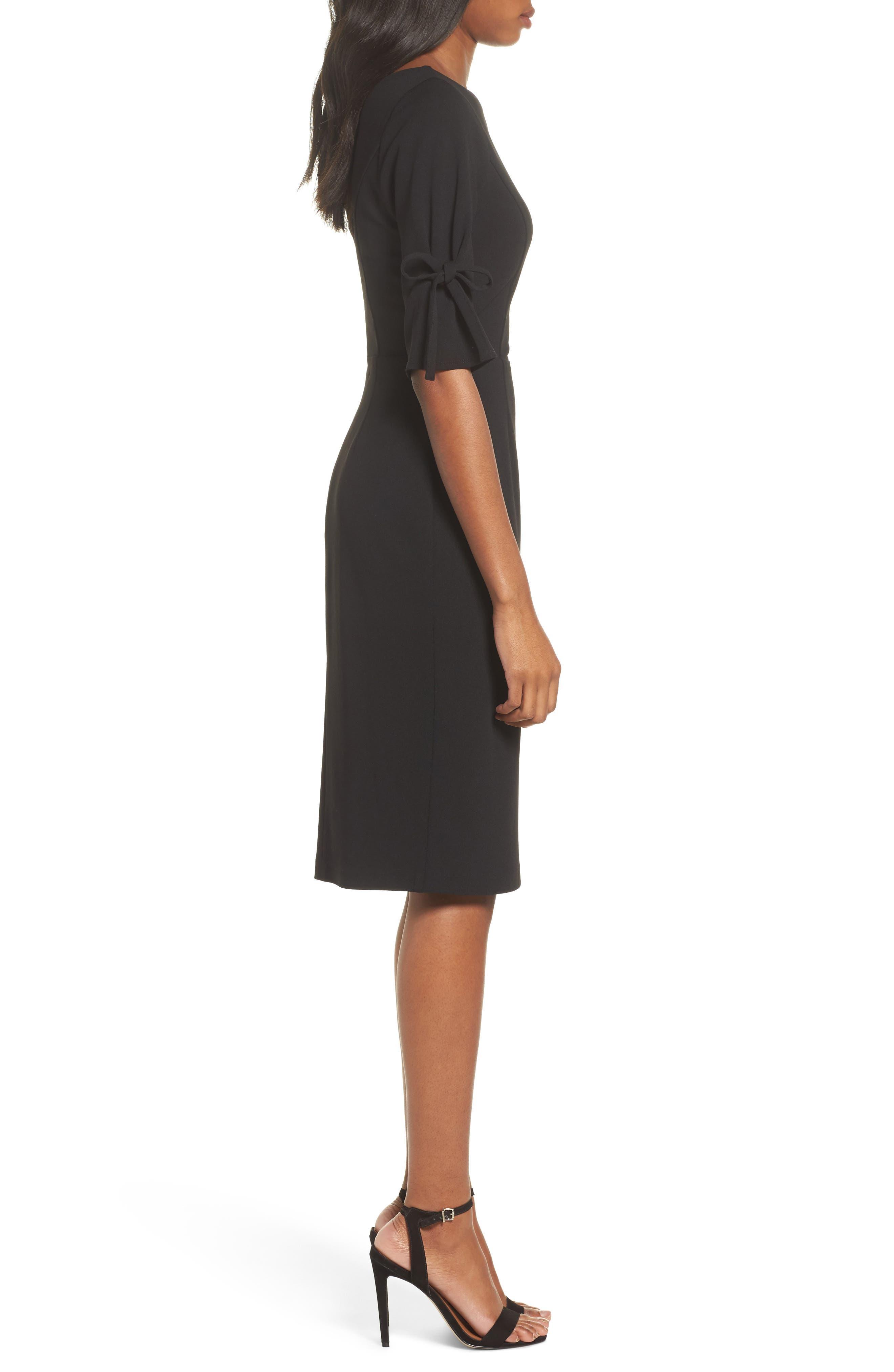 Tie Sleeve Sheath Dress,                             Alternate thumbnail 3, color,                             Black
