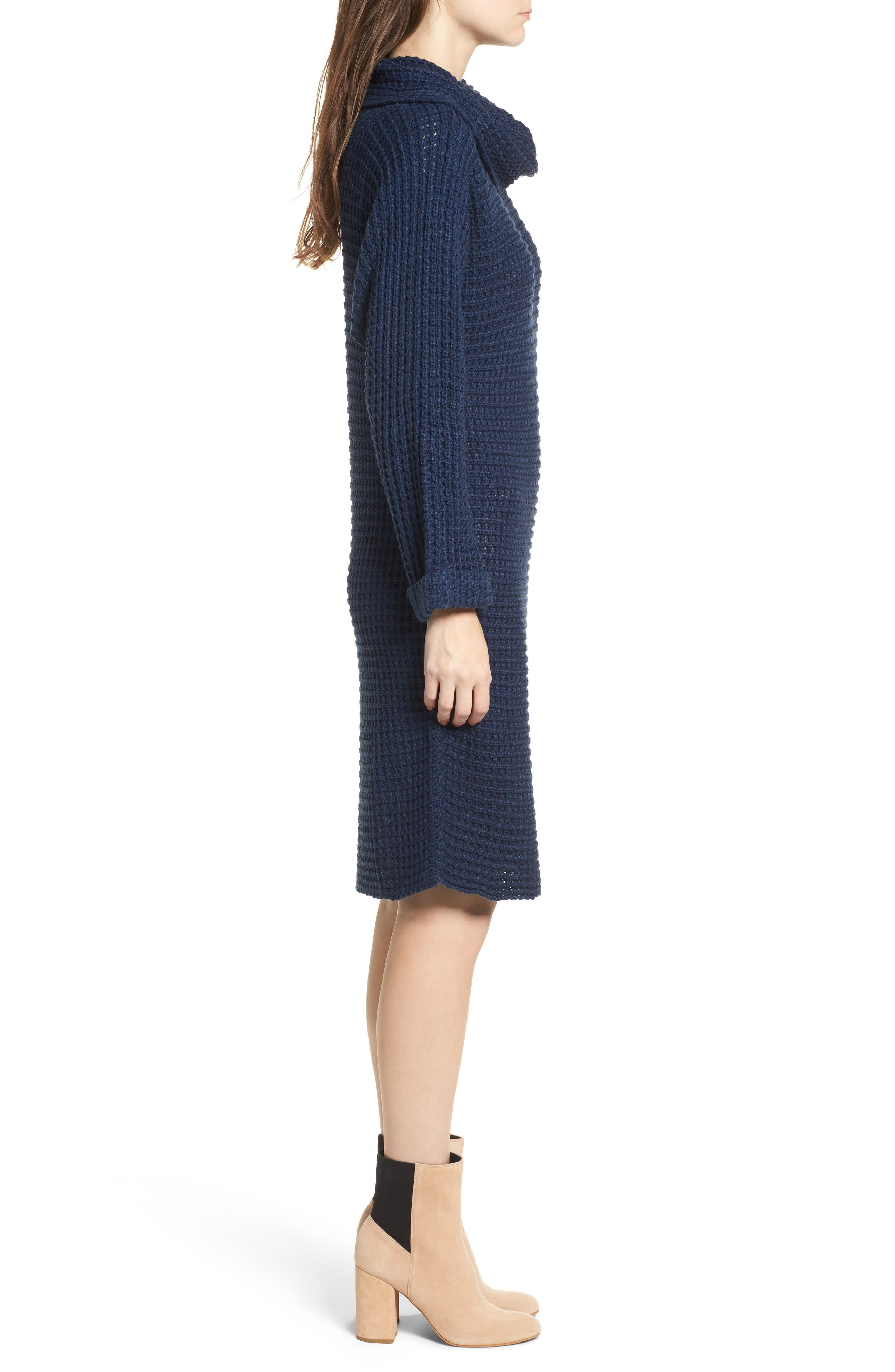 Turtleneck Sweater Dress,                             Alternate thumbnail 3, color,                             Navy
