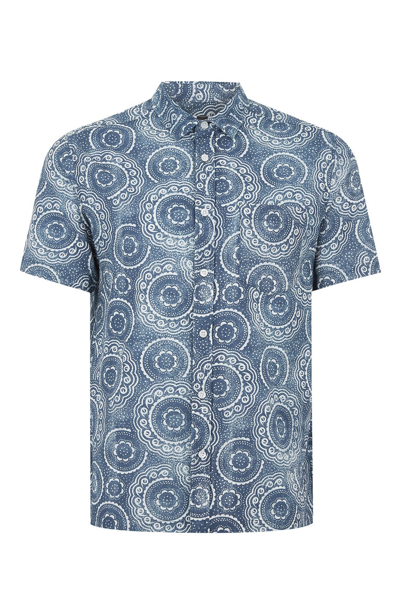 Trim Fit Circle Print Woven Shirt,                             Alternate thumbnail 5, color,                             Blue Multi