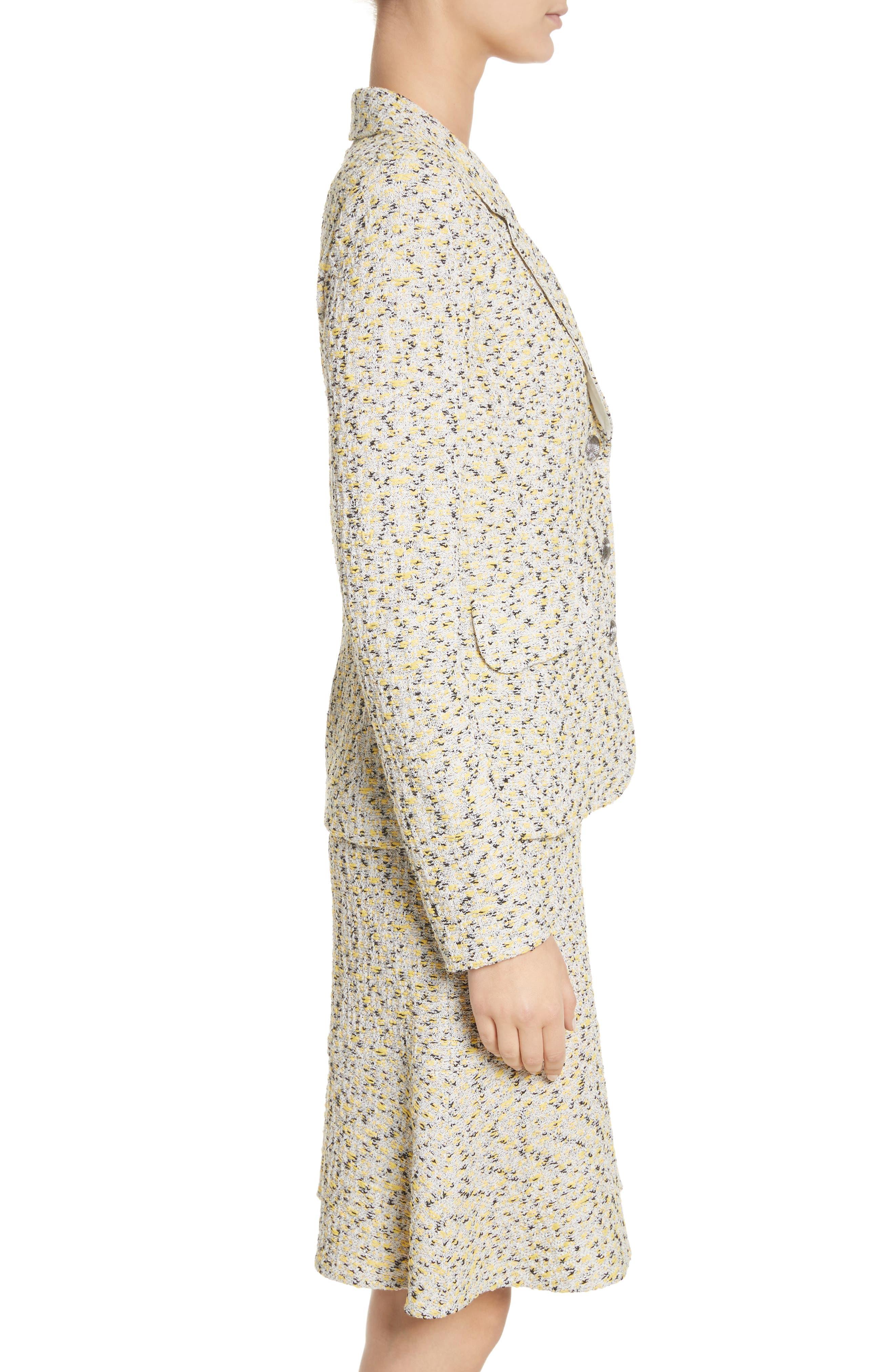 Romee Tweed Knit Blazer,                             Alternate thumbnail 3, color,                             Citron Multi