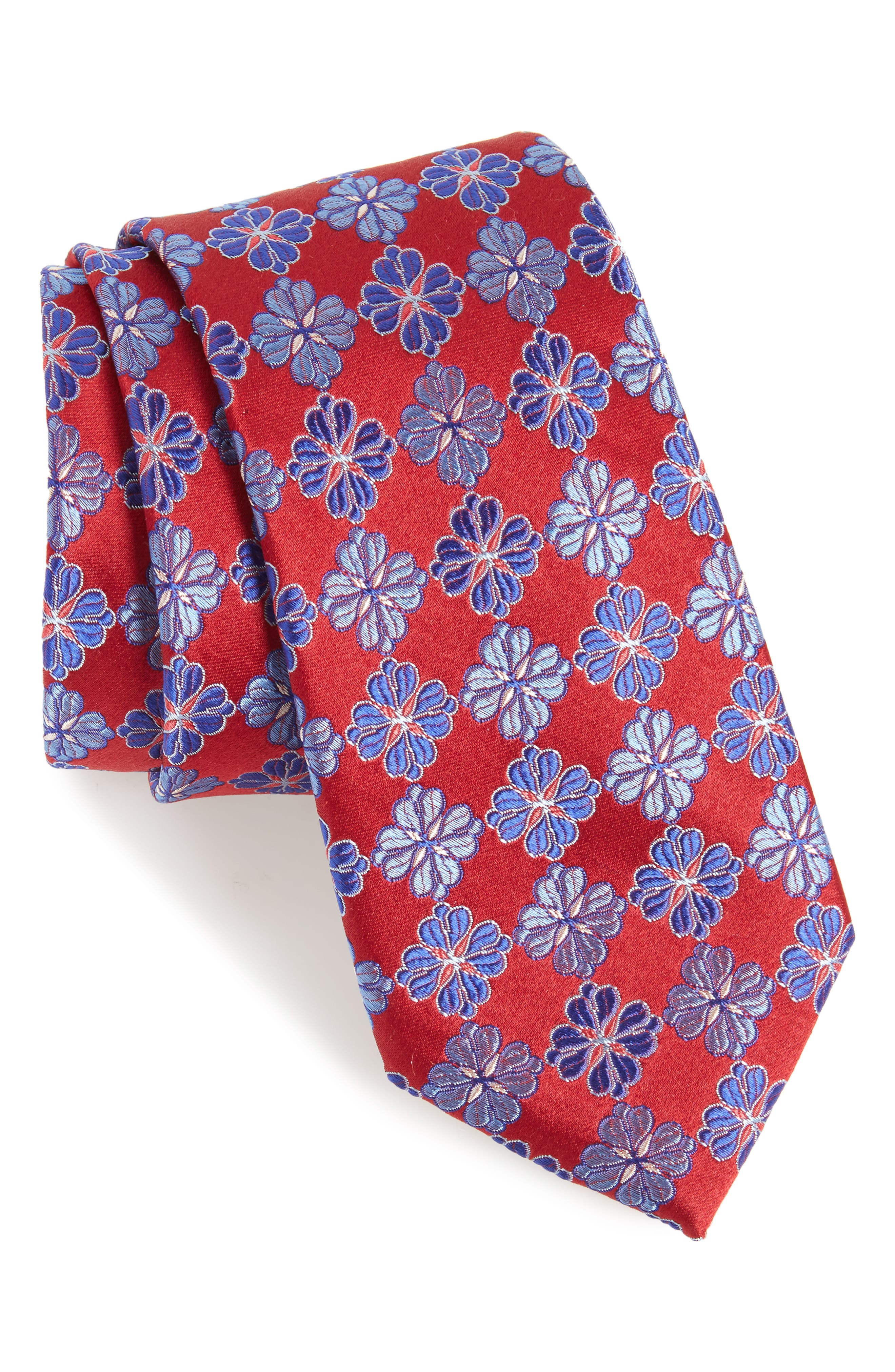 Cole Floral Silk Tie,                             Main thumbnail 1, color,                             Baked Fashion Red