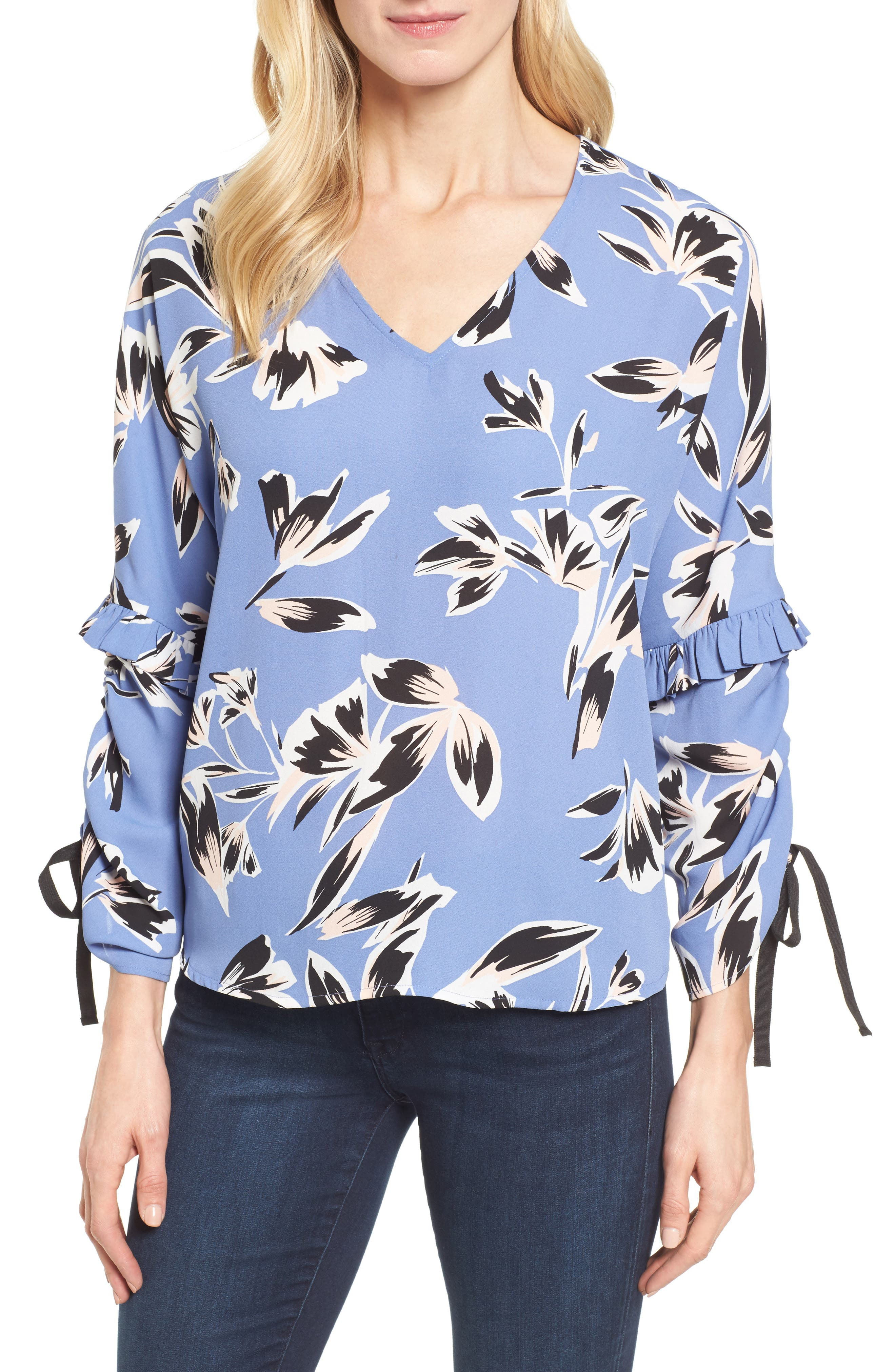 Ruched Tie Sleeve Top,                         Main,                         color, Blue- Pink Sketch Floral