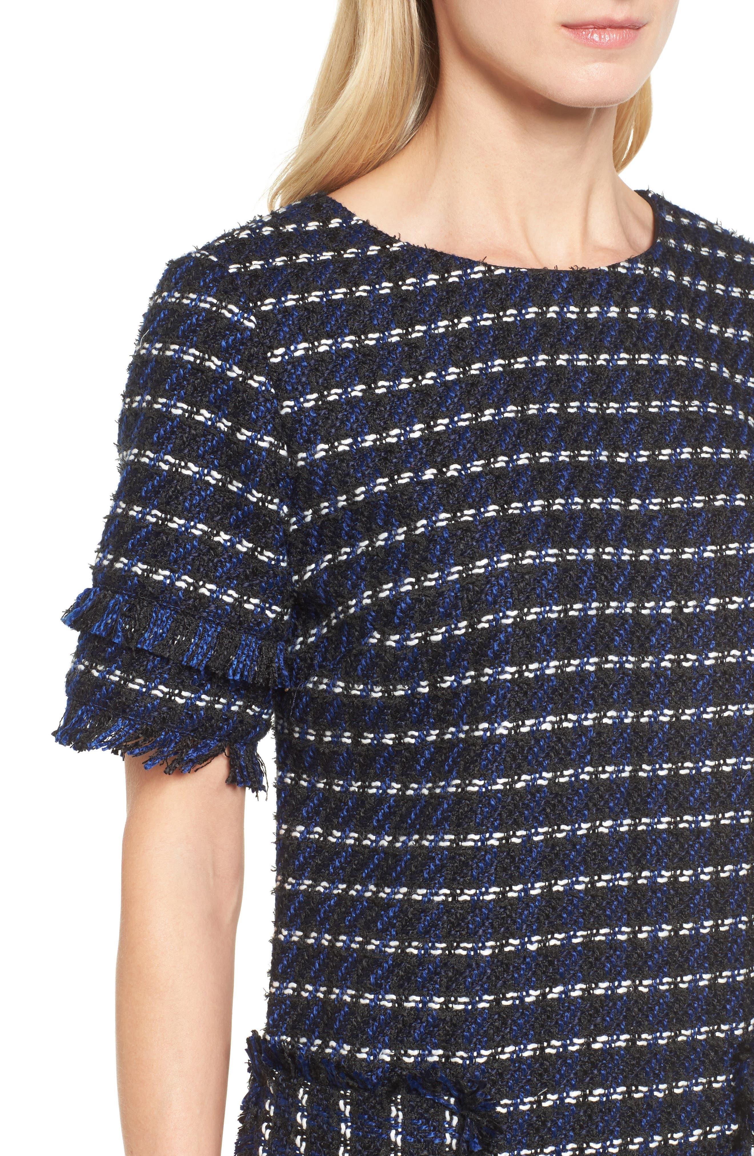 Fringe Tweed Dress,                             Alternate thumbnail 4, color,                             Black- Navy Tweed