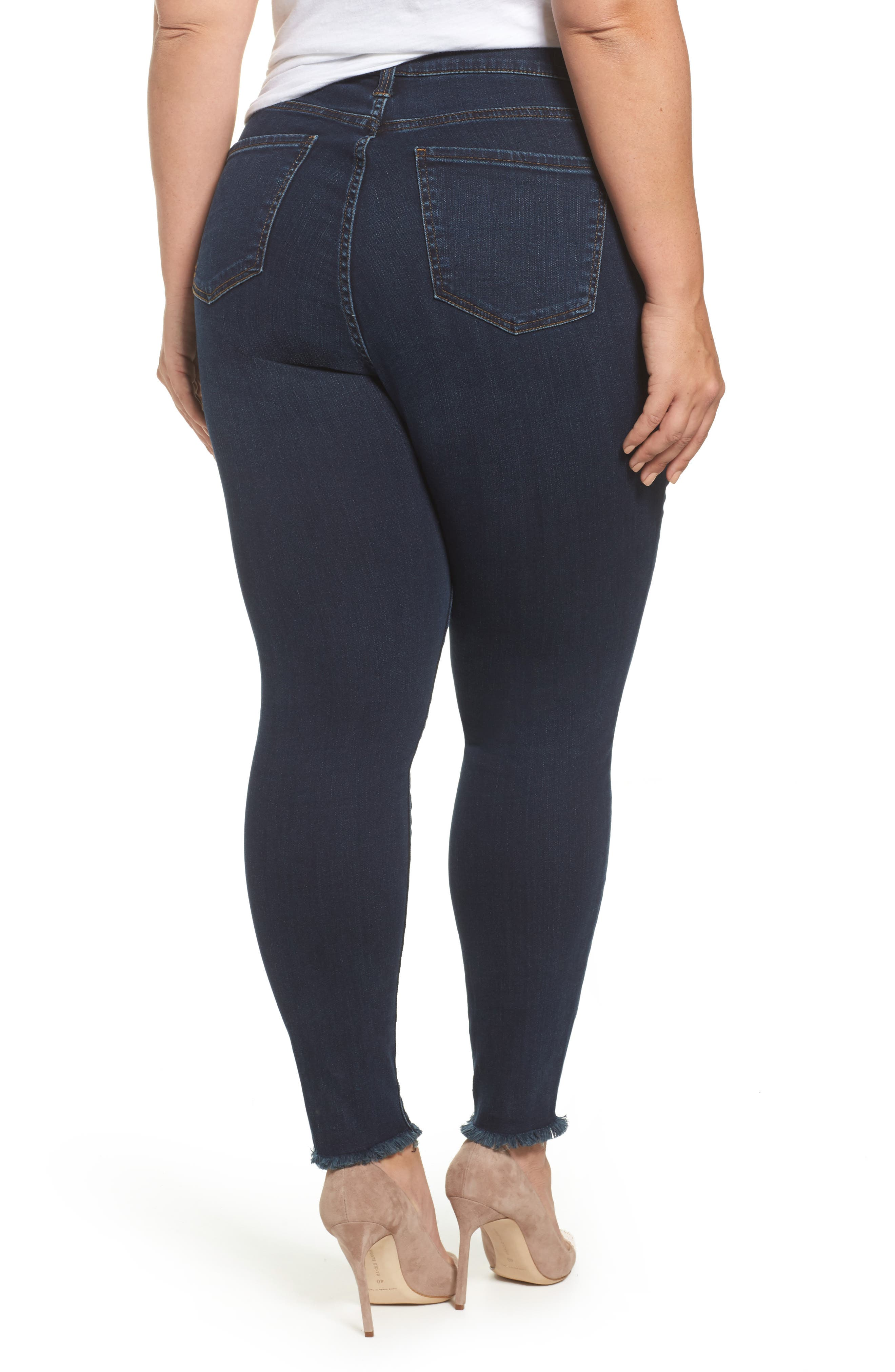 Alternate Image 2  - KUT from the Kloth Donna Frayed Skinny Crop Jeans (Certitude) (Plus Size)