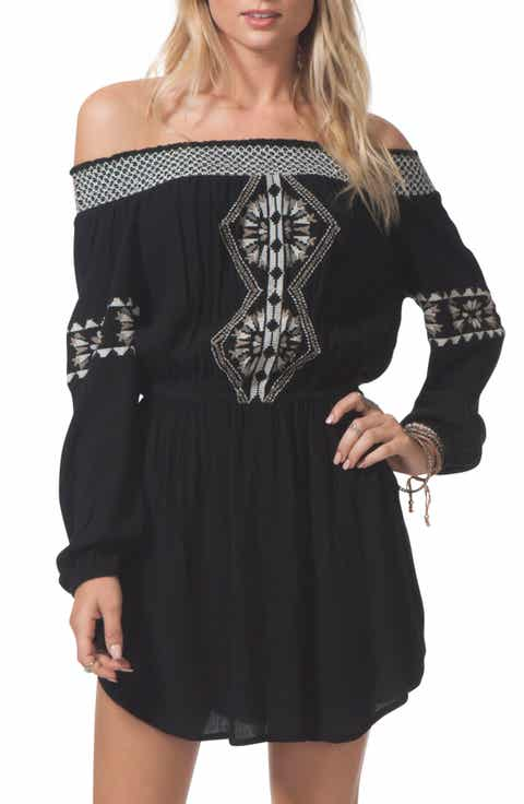 Rip Curl Serena Embroidered Off the Shoulder Dress