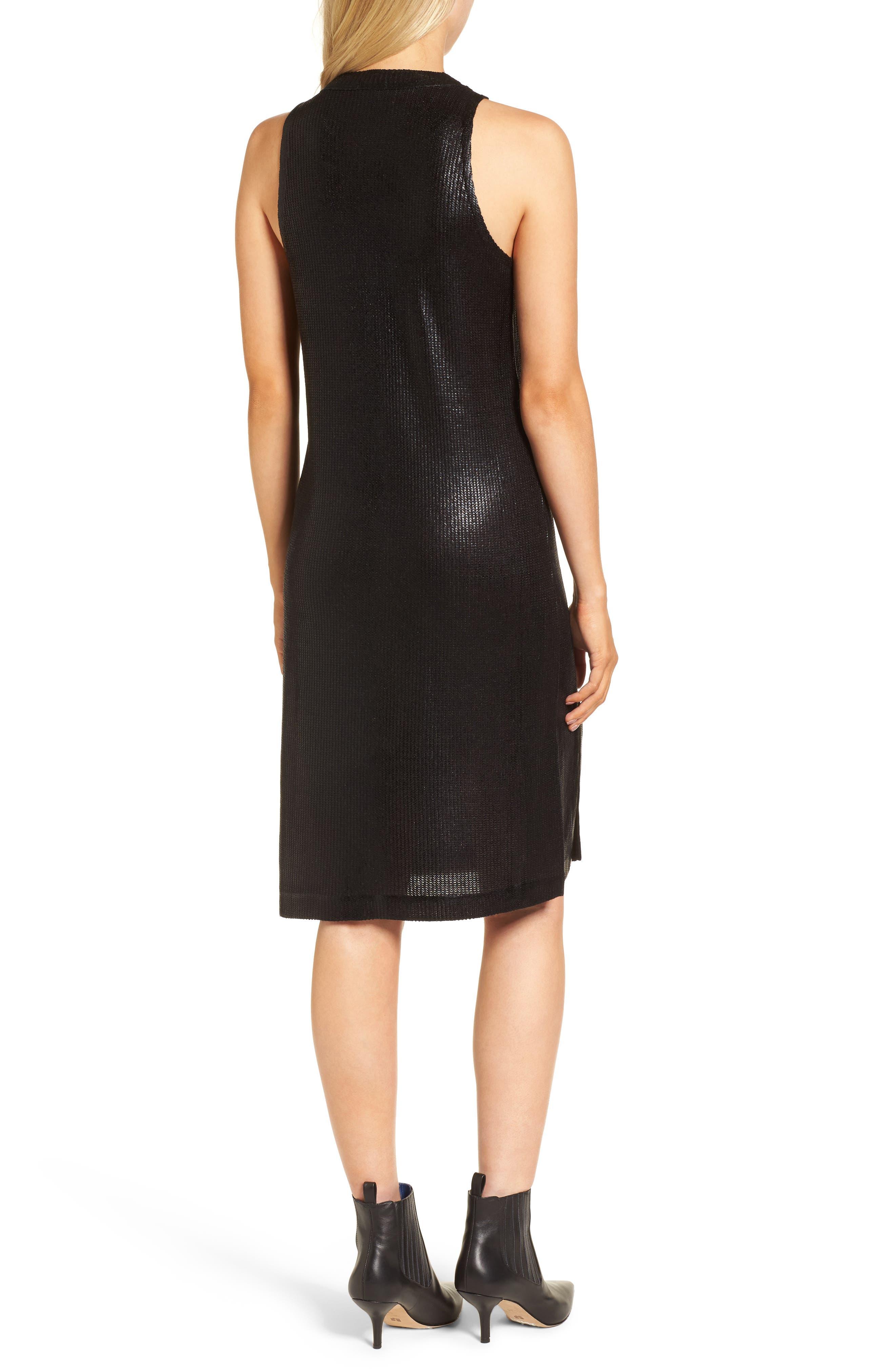 Metallic Coated Dress,                             Alternate thumbnail 2, color,                             Black