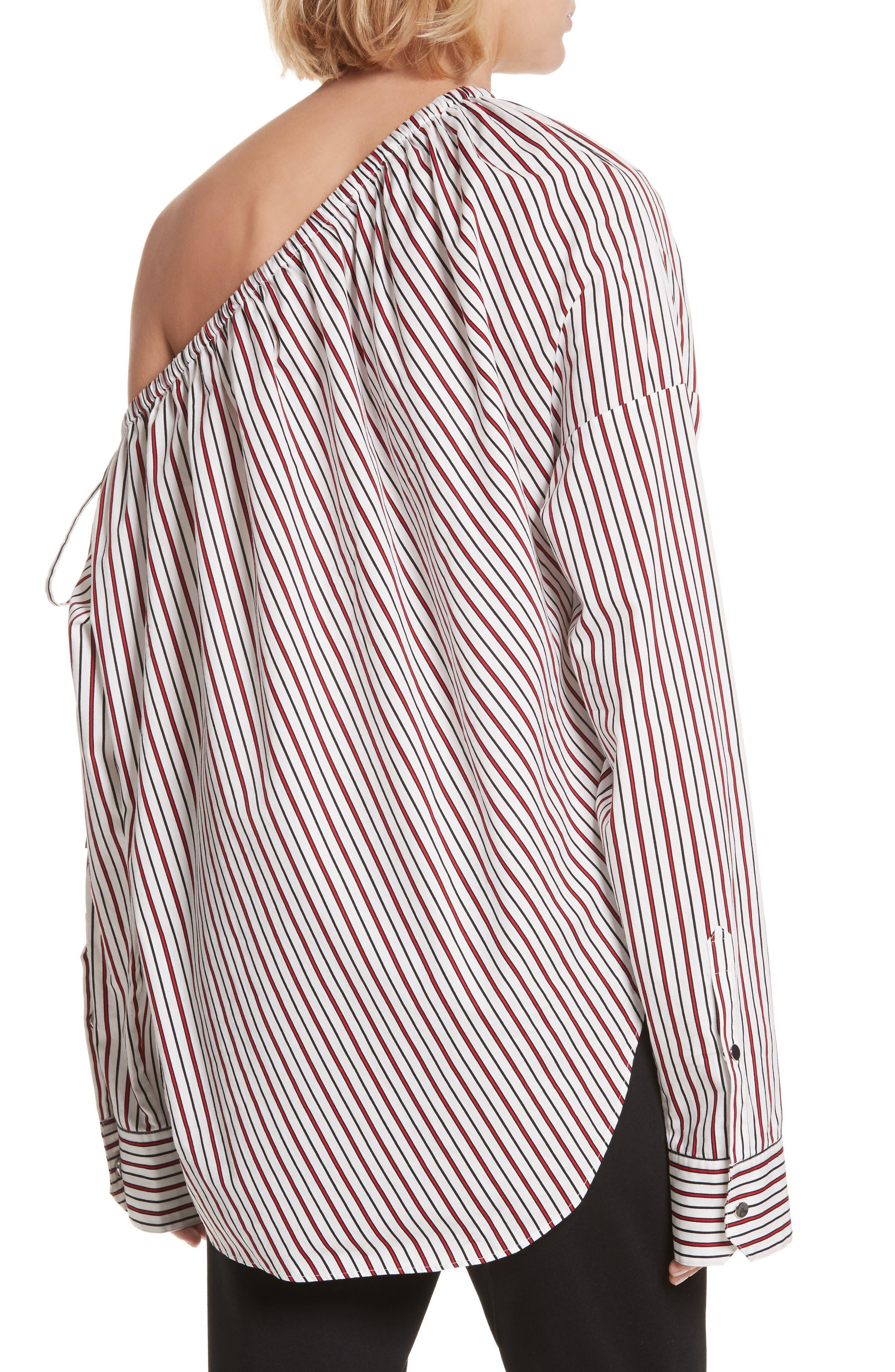 Cinched One-Shoulder Top,                             Alternate thumbnail 2, color,                             Red Stripe