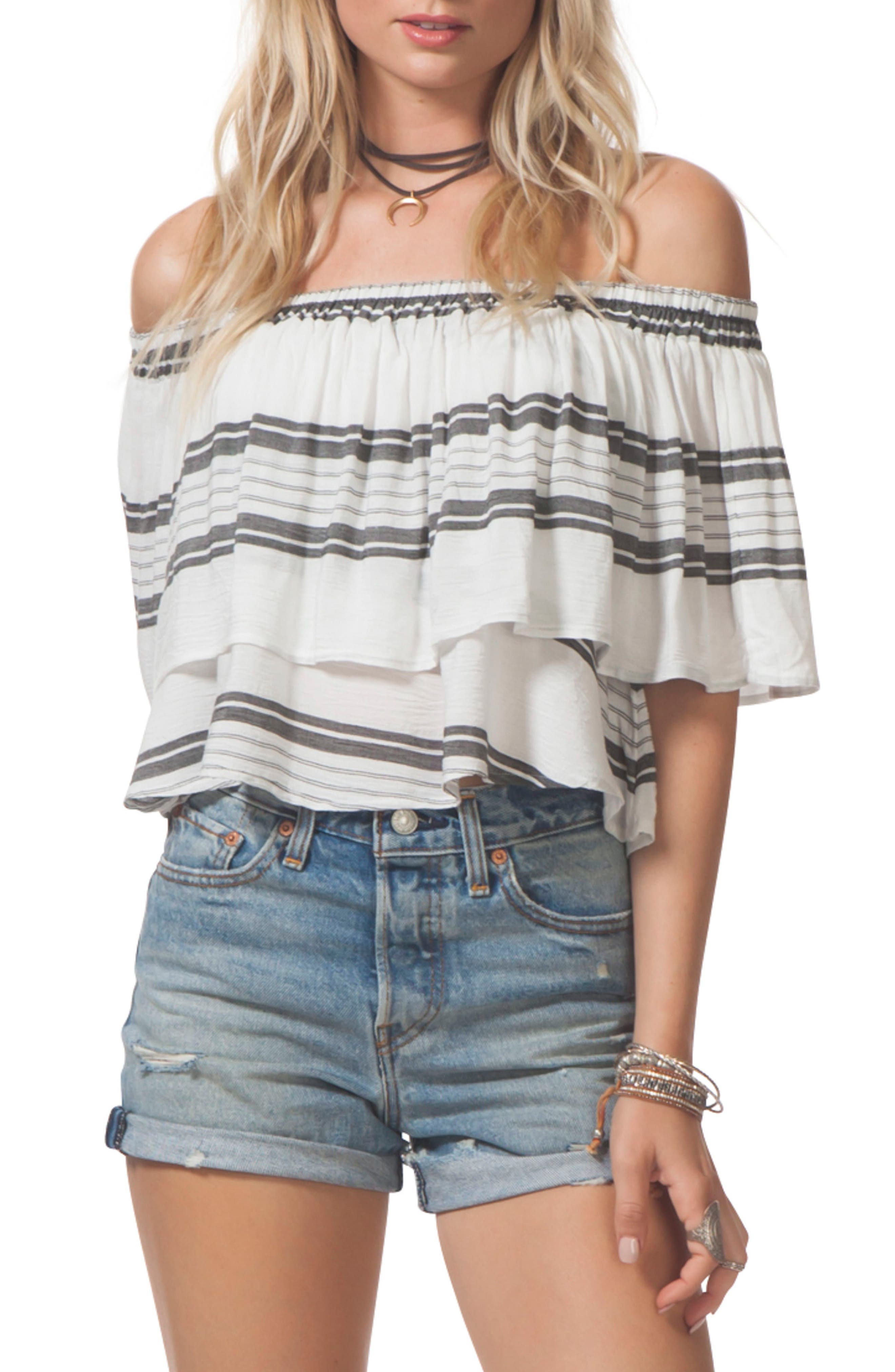 Rip Curl Soulmate Off the Shoulder Ruffle Top