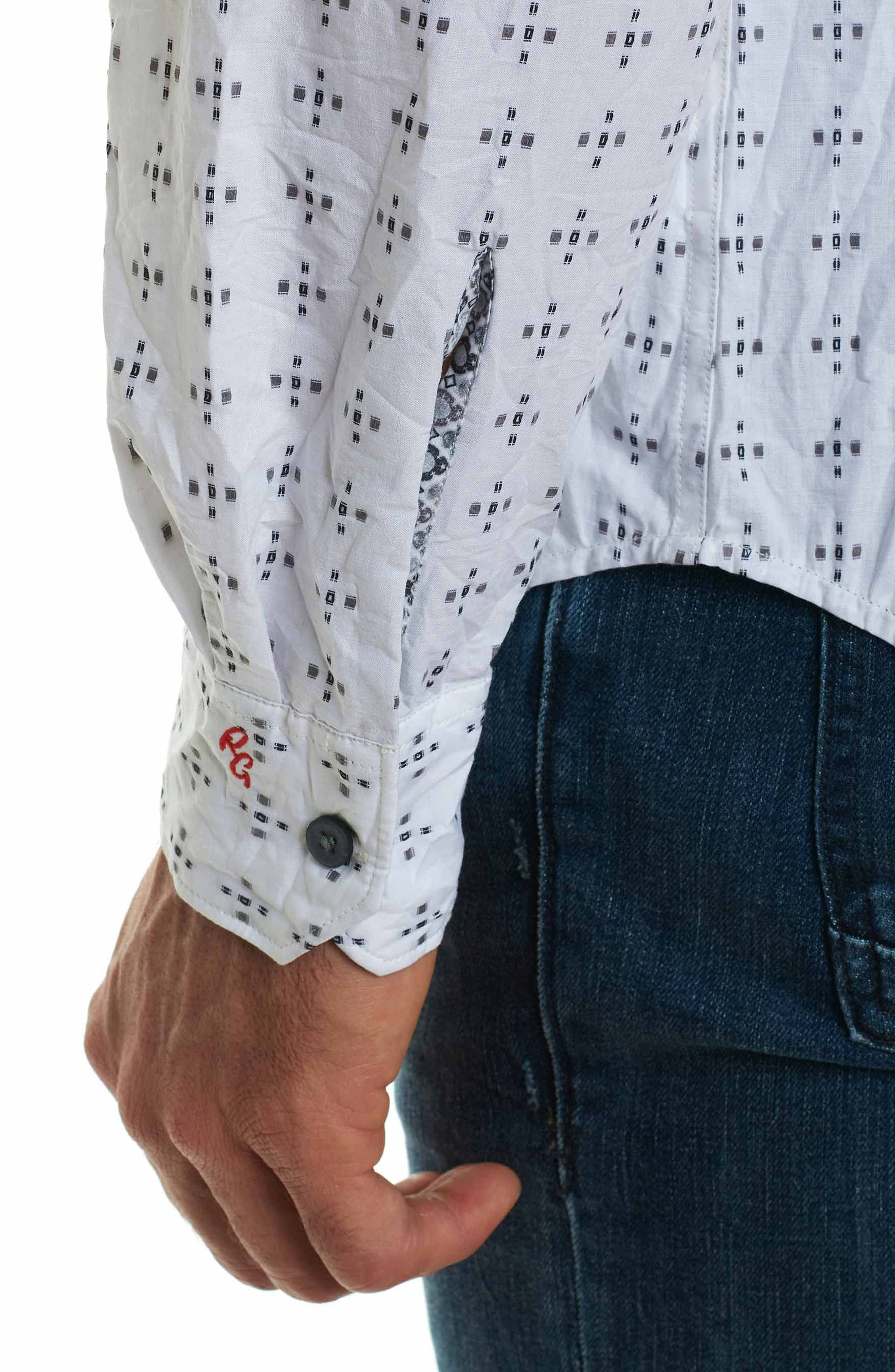 Steger Classic Fit Print Sport Shirt,                             Alternate thumbnail 5, color,                             White