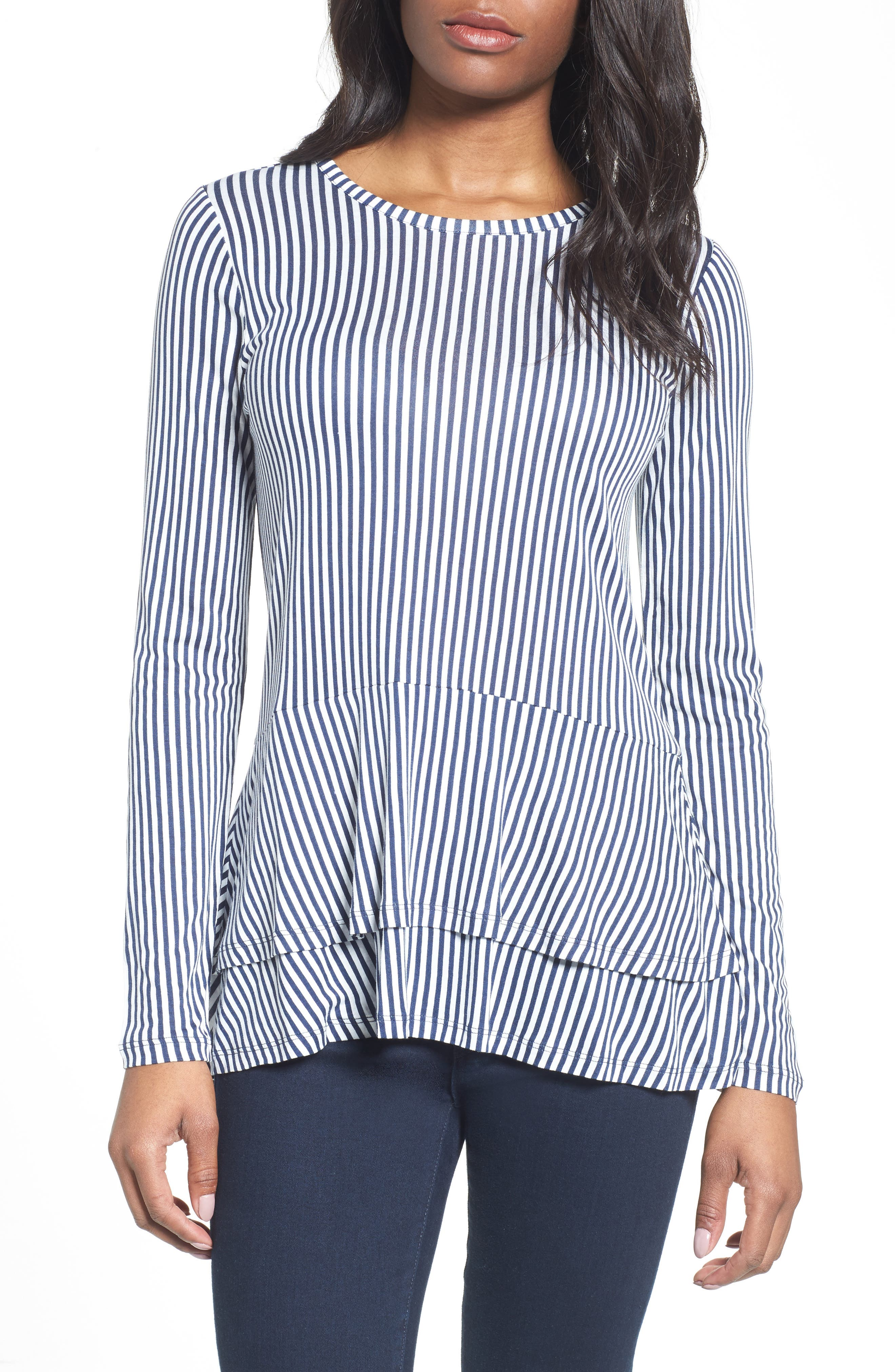 MICHAEL Michael Kors Stripe Layered Hem Top
