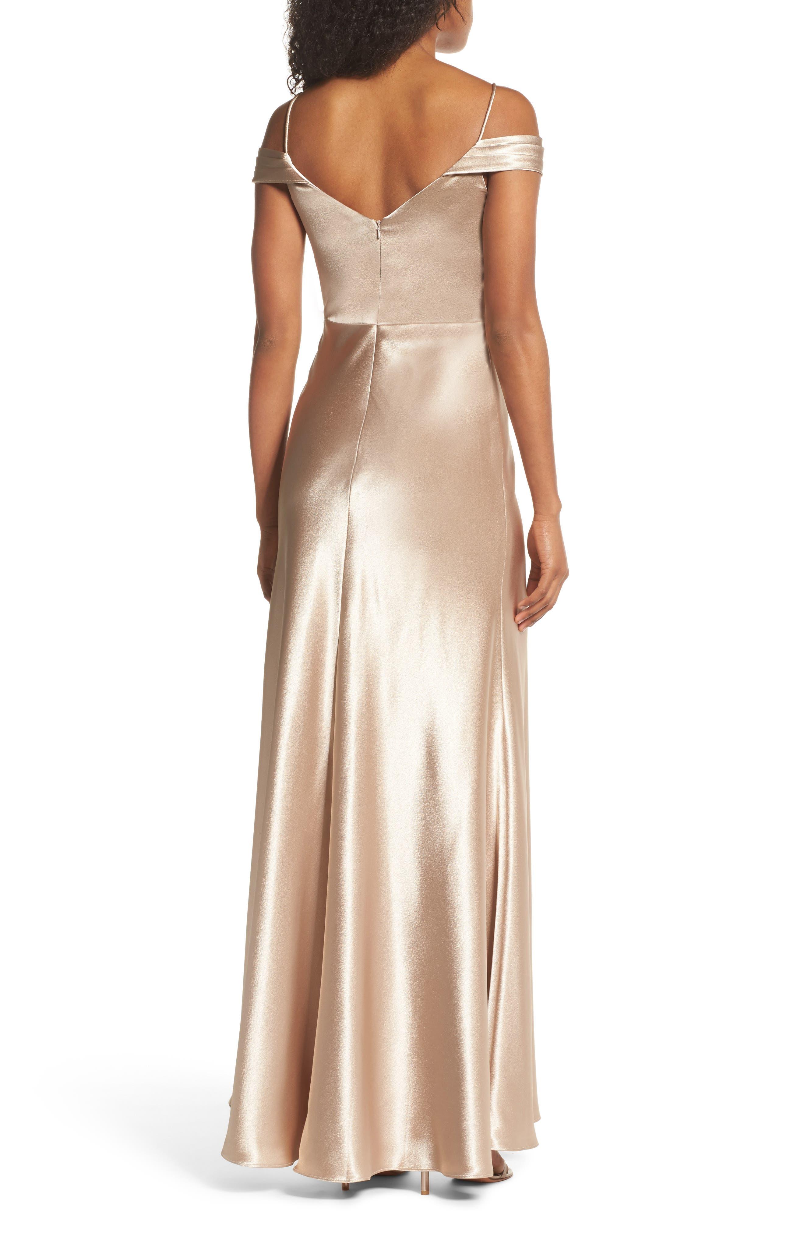 Alternate Image 2  - Jenny Yoo Serene Satin Off the Shoulder Gown