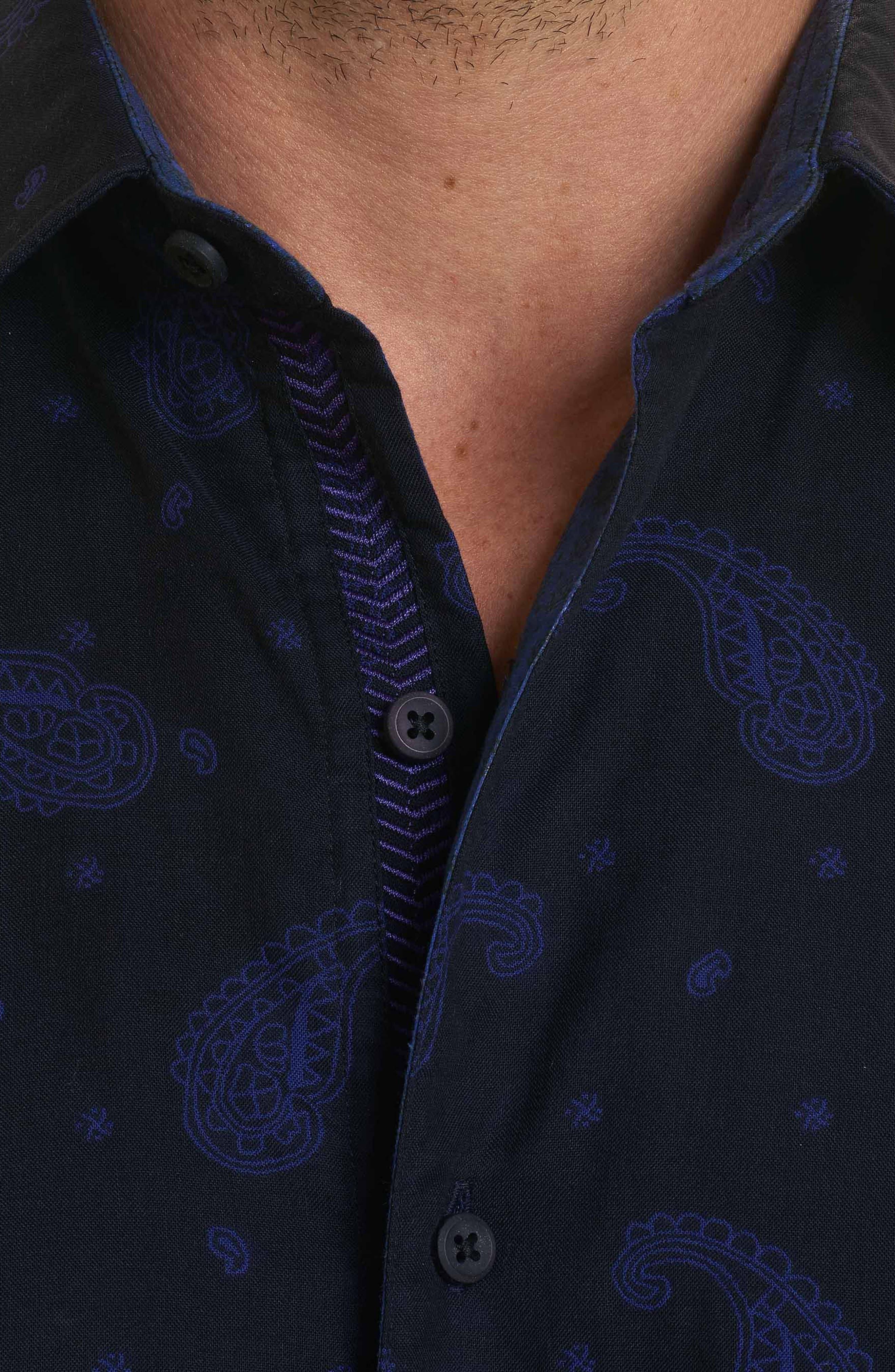 Scatter Paisley Classic Fit Sport Shirt,                             Alternate thumbnail 4, color,                             Black