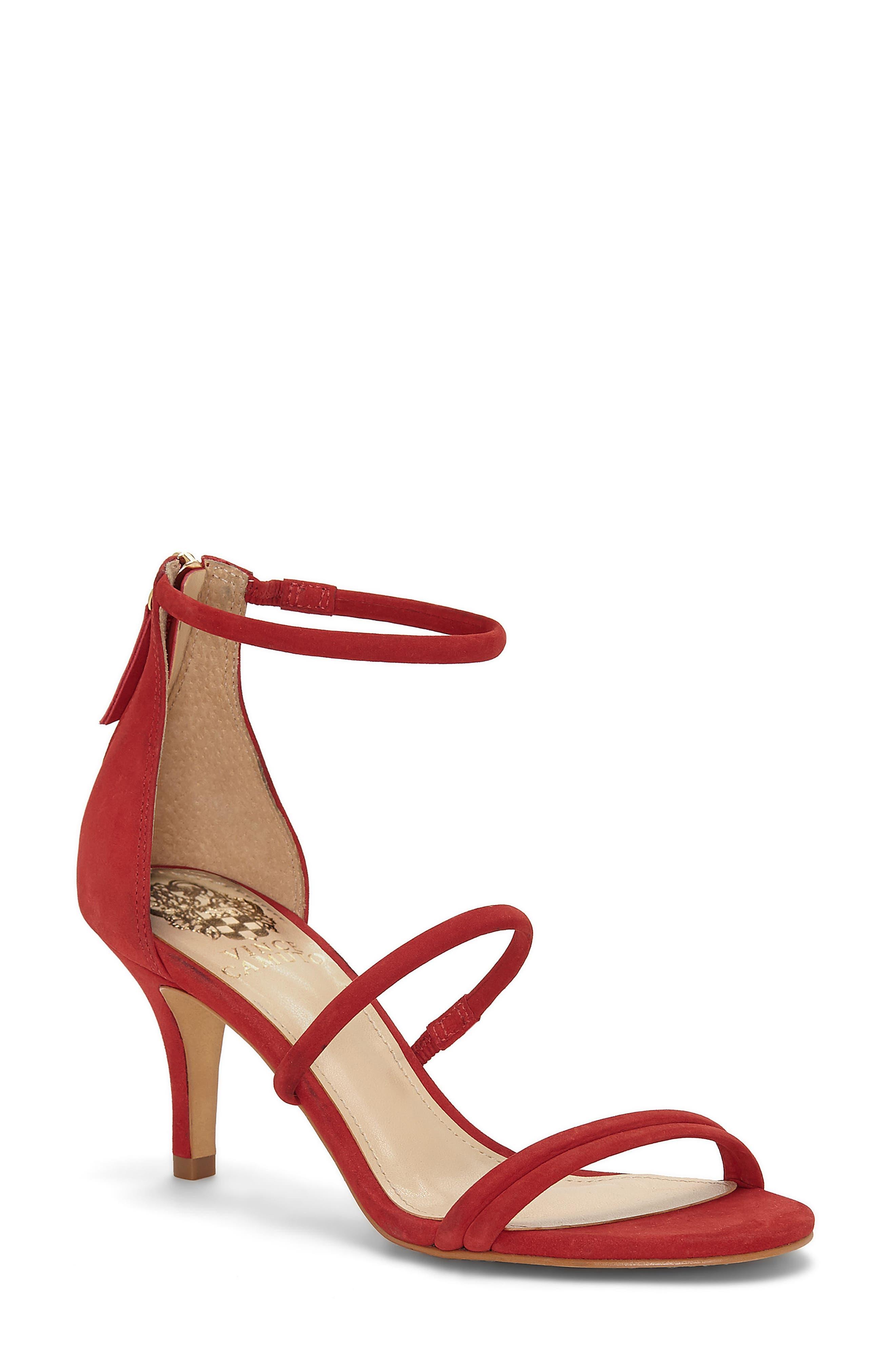 Aviran Sandal,                             Main thumbnail 1, color,                             Ruby Red Nubuck Leather