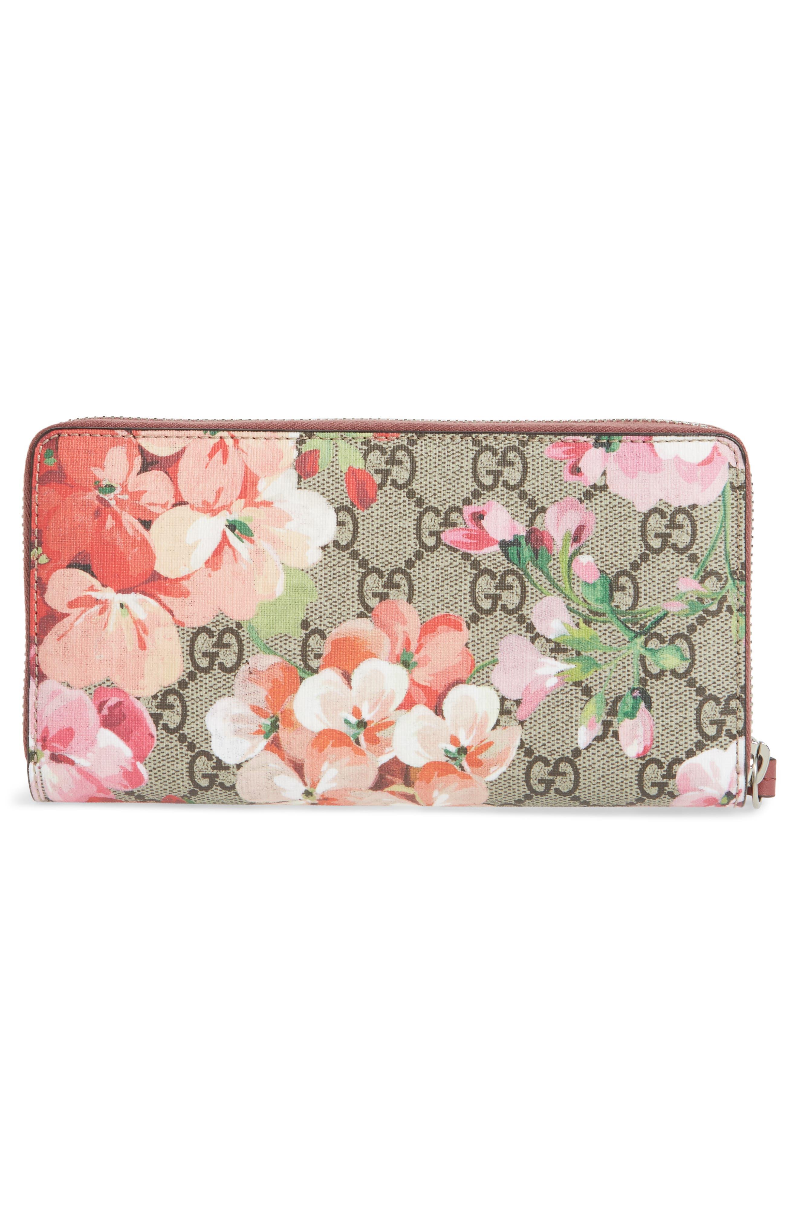GG Blooms Zip Around Wallet,                             Alternate thumbnail 4, color,                             Beige Ebony Multi/ Dry Rose