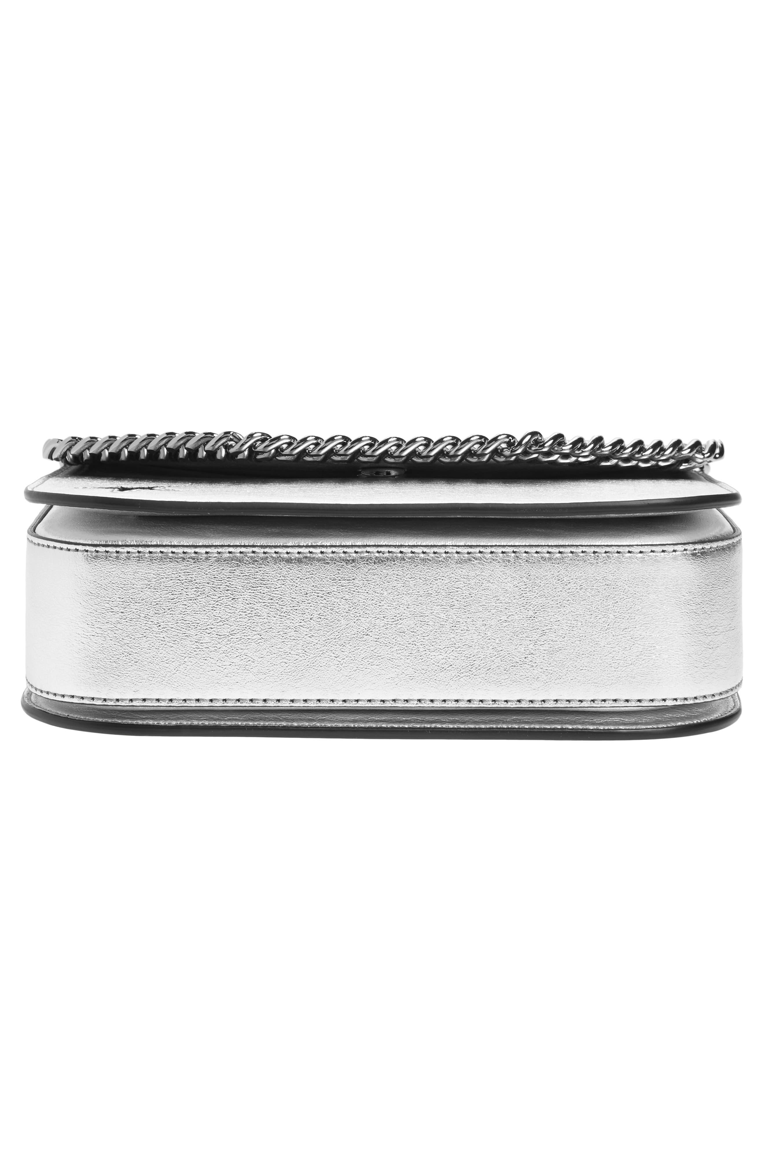 Falabella Star Cutout Metallic Faux Leather Shoulder Bag,                             Alternate thumbnail 6, color,                             Silver