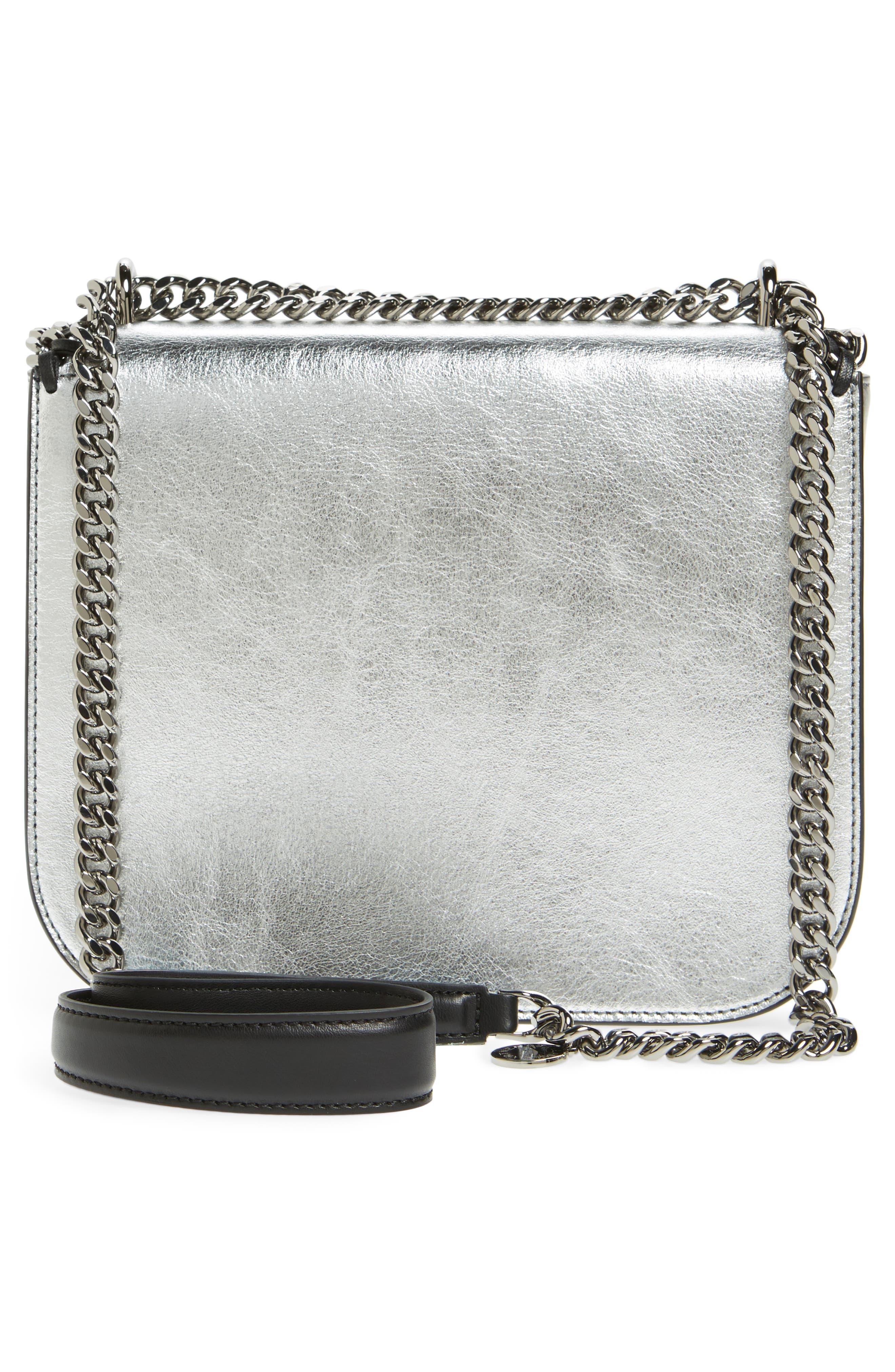 Falabella Star Cutout Metallic Faux Leather Shoulder Bag,                             Alternate thumbnail 3, color,                             Silver