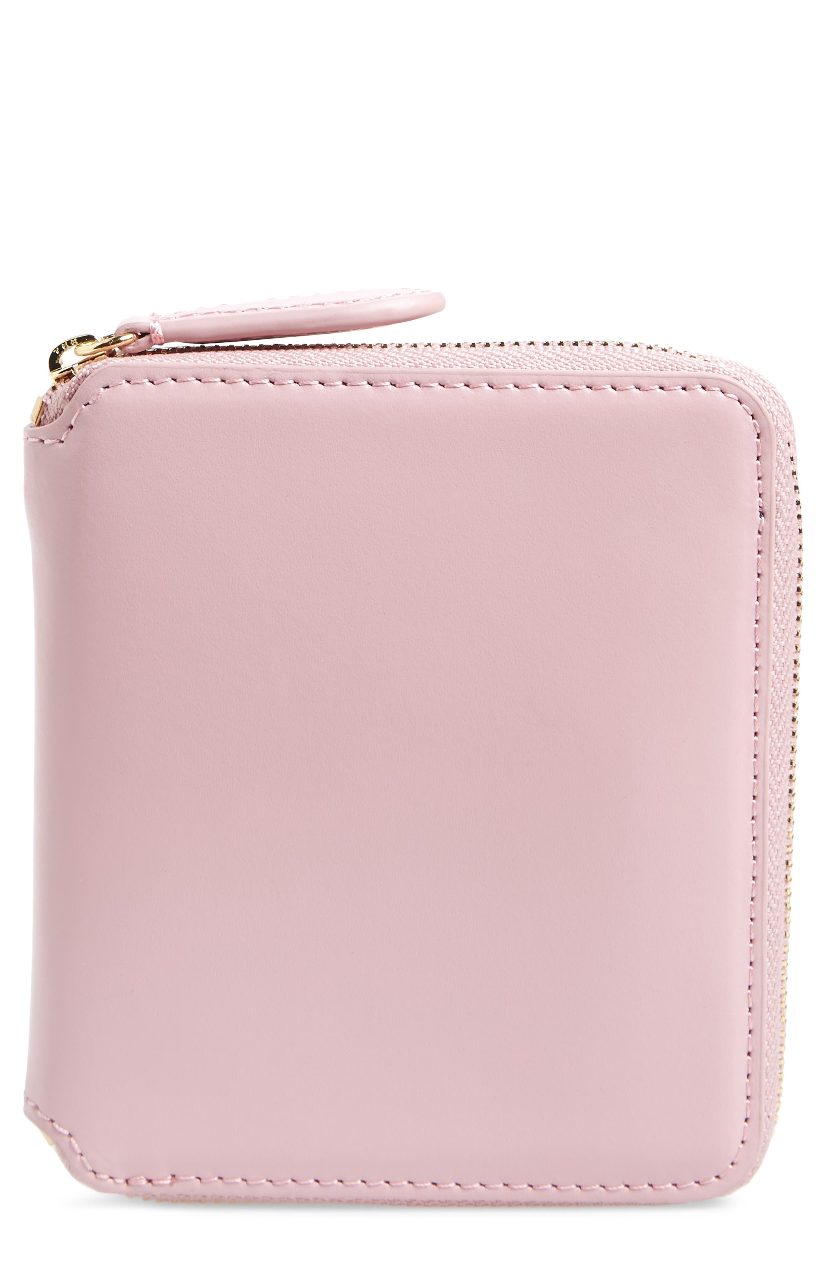 Small Za Leather Wallet,                         Main,                         color, Pink