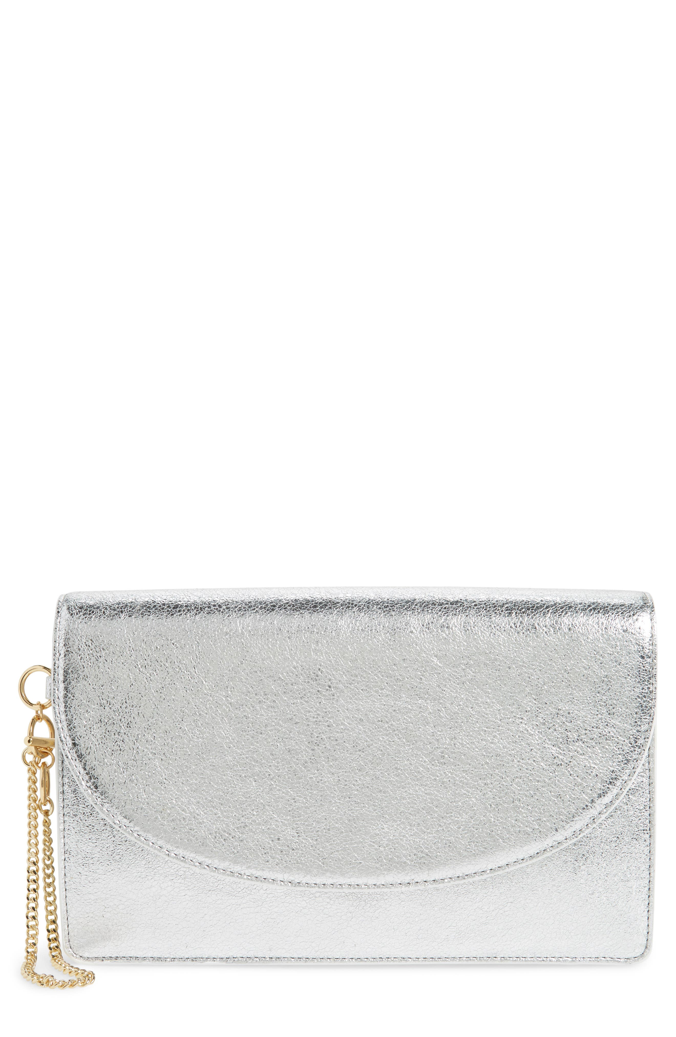 Saddle Leather Clutch,                             Main thumbnail 1, color,                             Silver