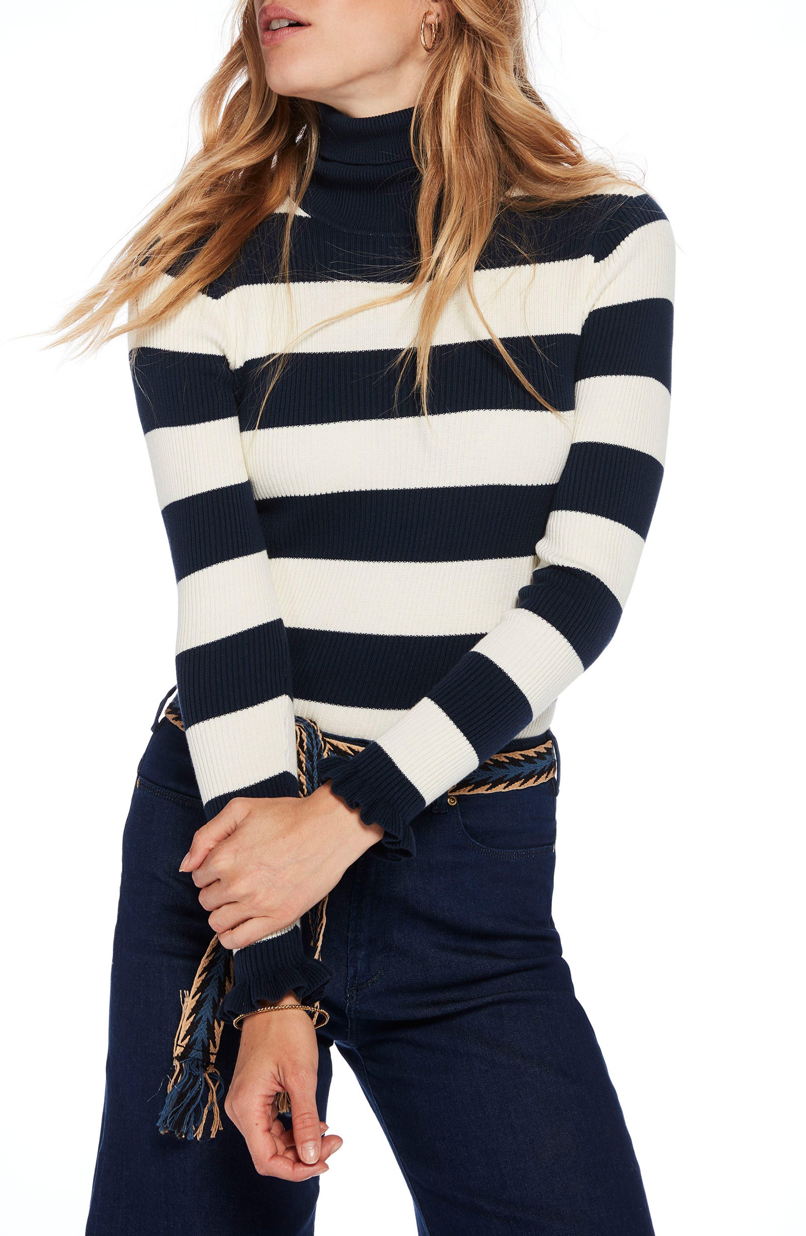 Stripe Turtleneck,                             Main thumbnail 1, color,                             Navy/ Off White Thick Stripe