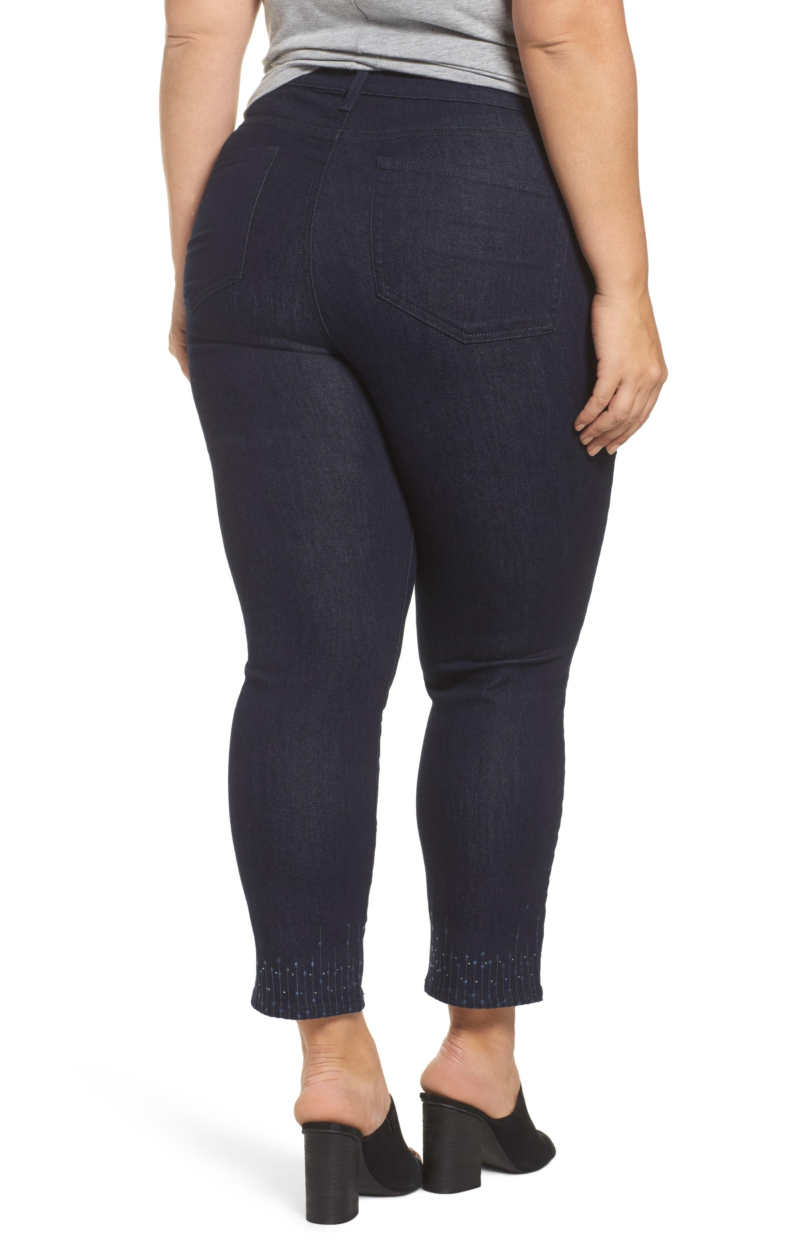Alternate Image 2  - NYDJ Sheri Bling Hem Stretch Ankle Skinny Jeans (Plus Size)