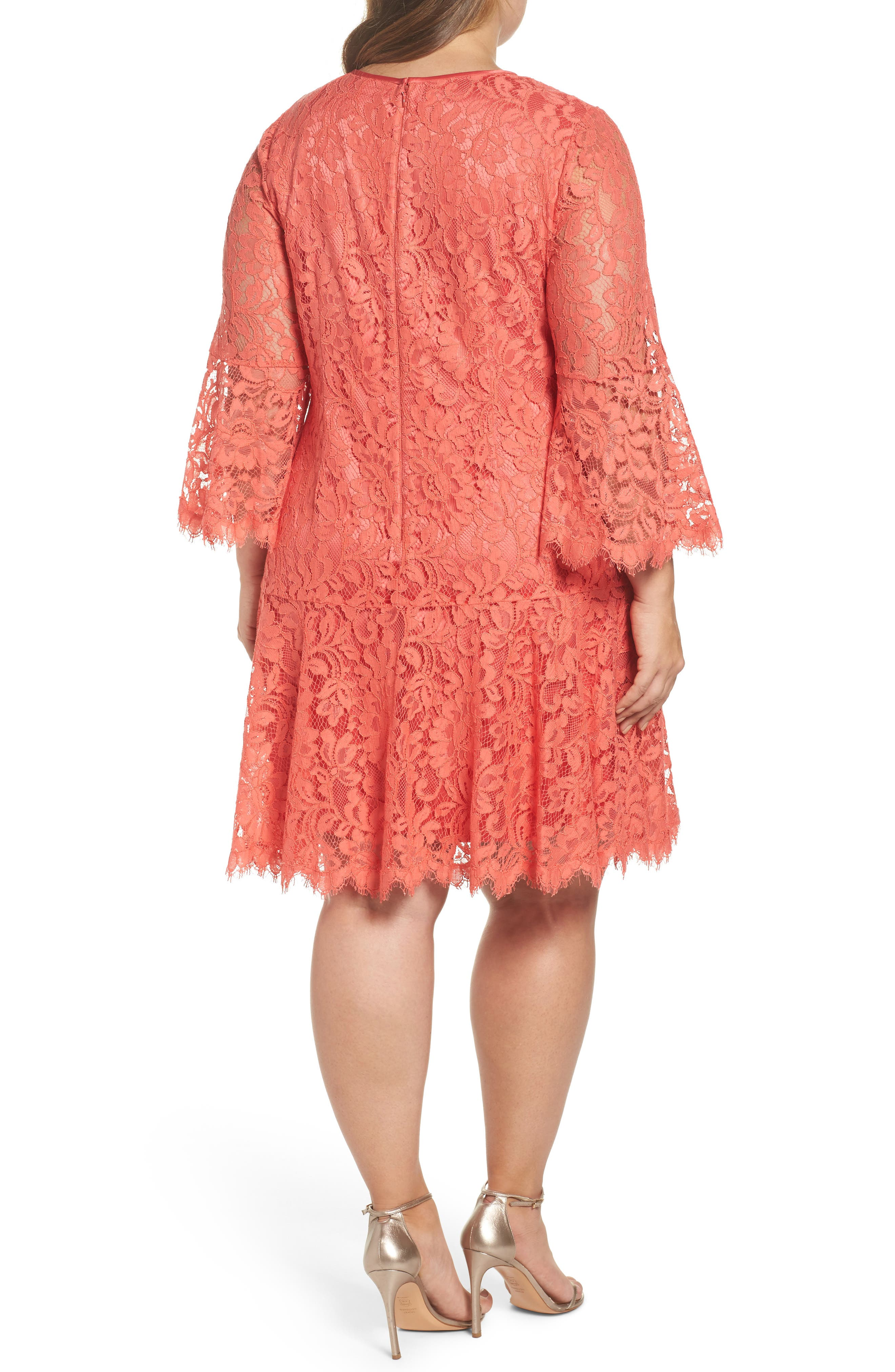 Bell Sleeve Lace Shift Dress,                             Alternate thumbnail 2, color,                             Coral