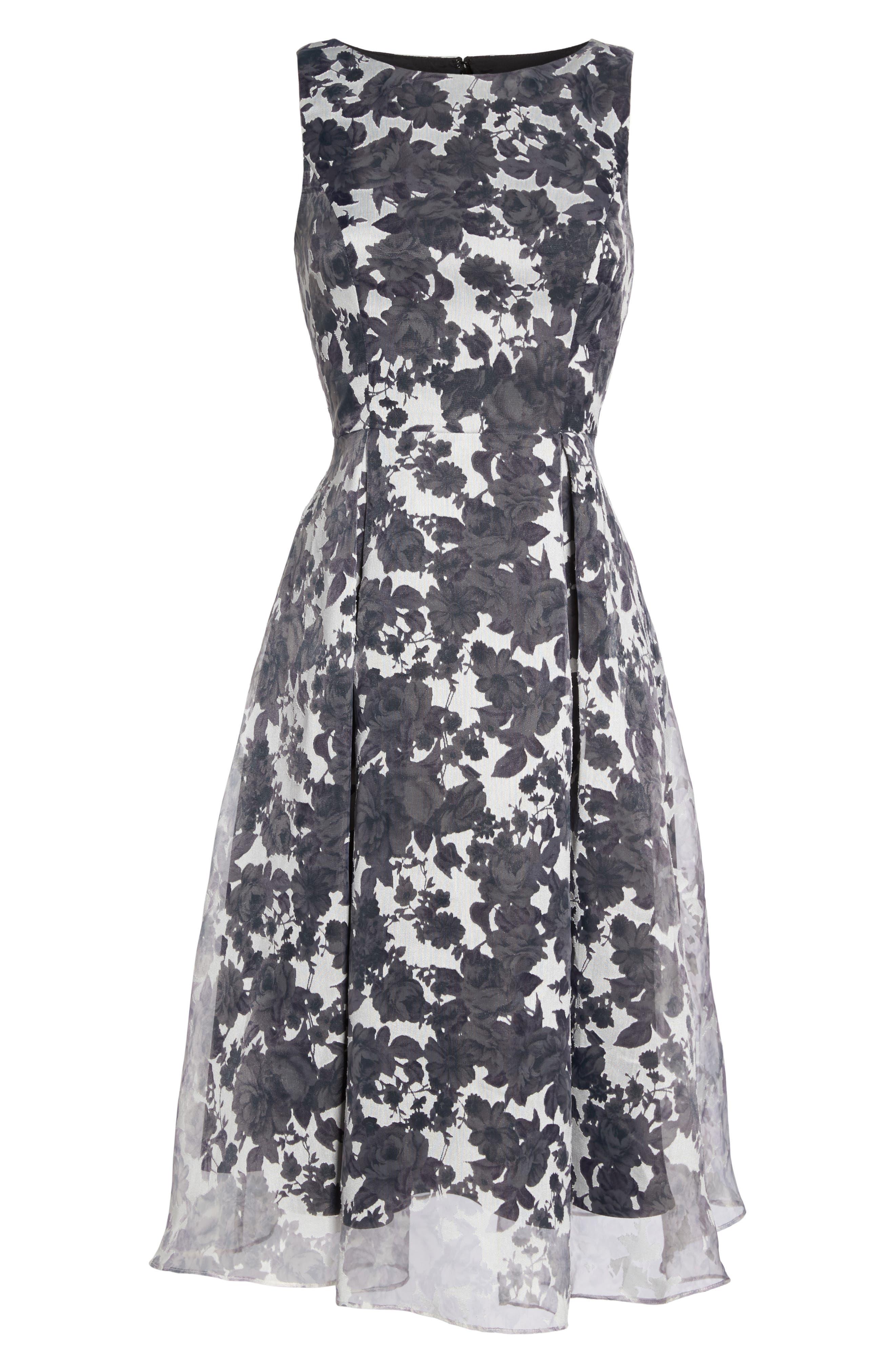 Alyssa Fit & Flare Dress,                             Alternate thumbnail 6, color,                             Lilac Mist