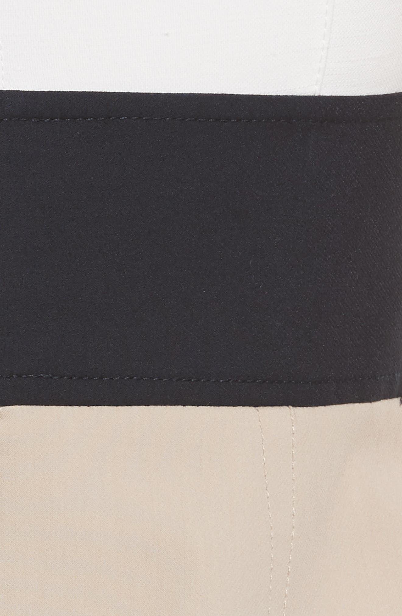 Diane von Furstenberg Colorblock Stretch Cotton Blend Sheath Dress,                             Alternate thumbnail 5, color,                             Sand/ Alexander Navy/ White