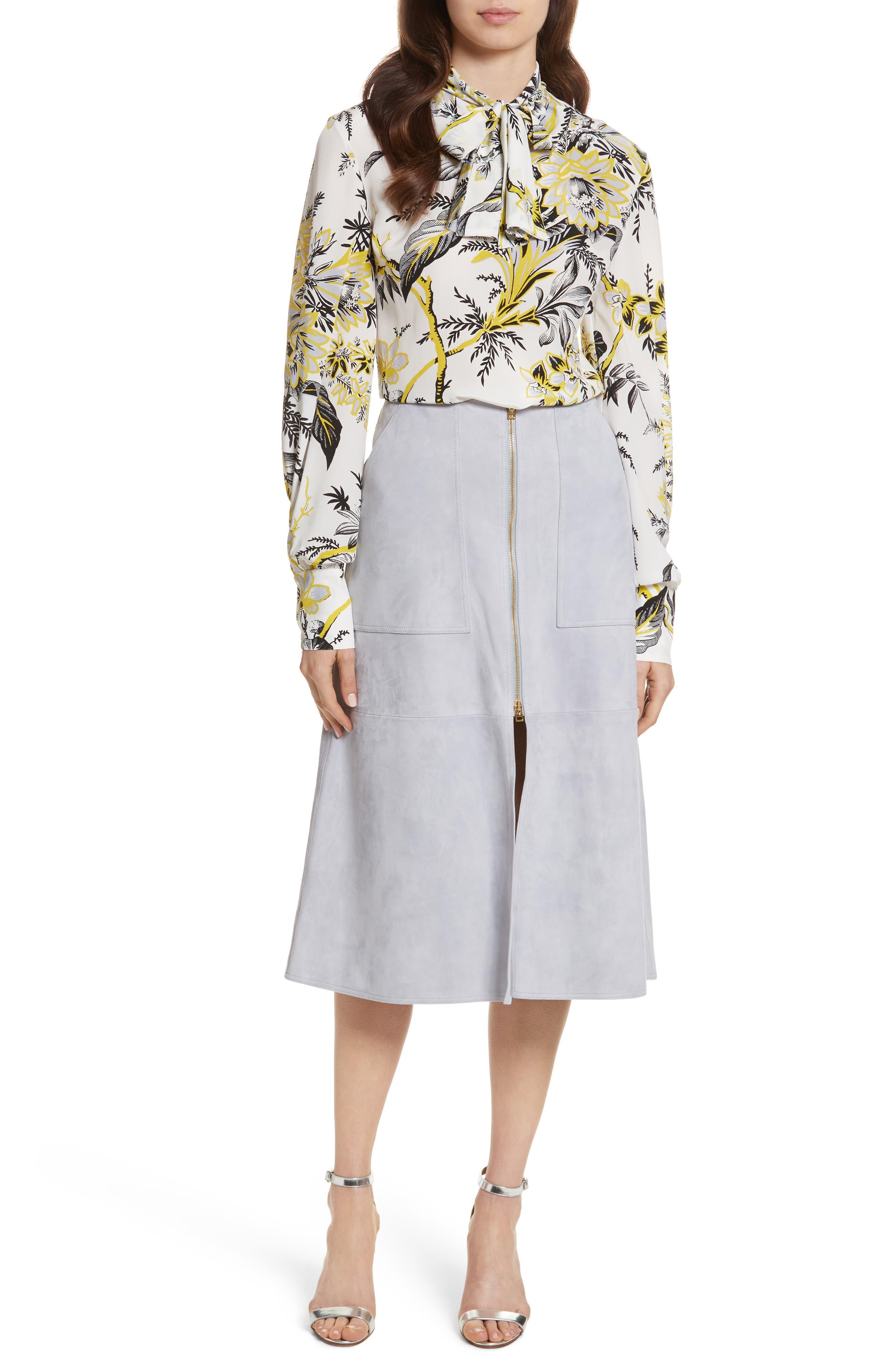 Diane von Furstenberg Patch Pocket Suede Midi Skirt,                             Alternate thumbnail 7, color,                             Smoke