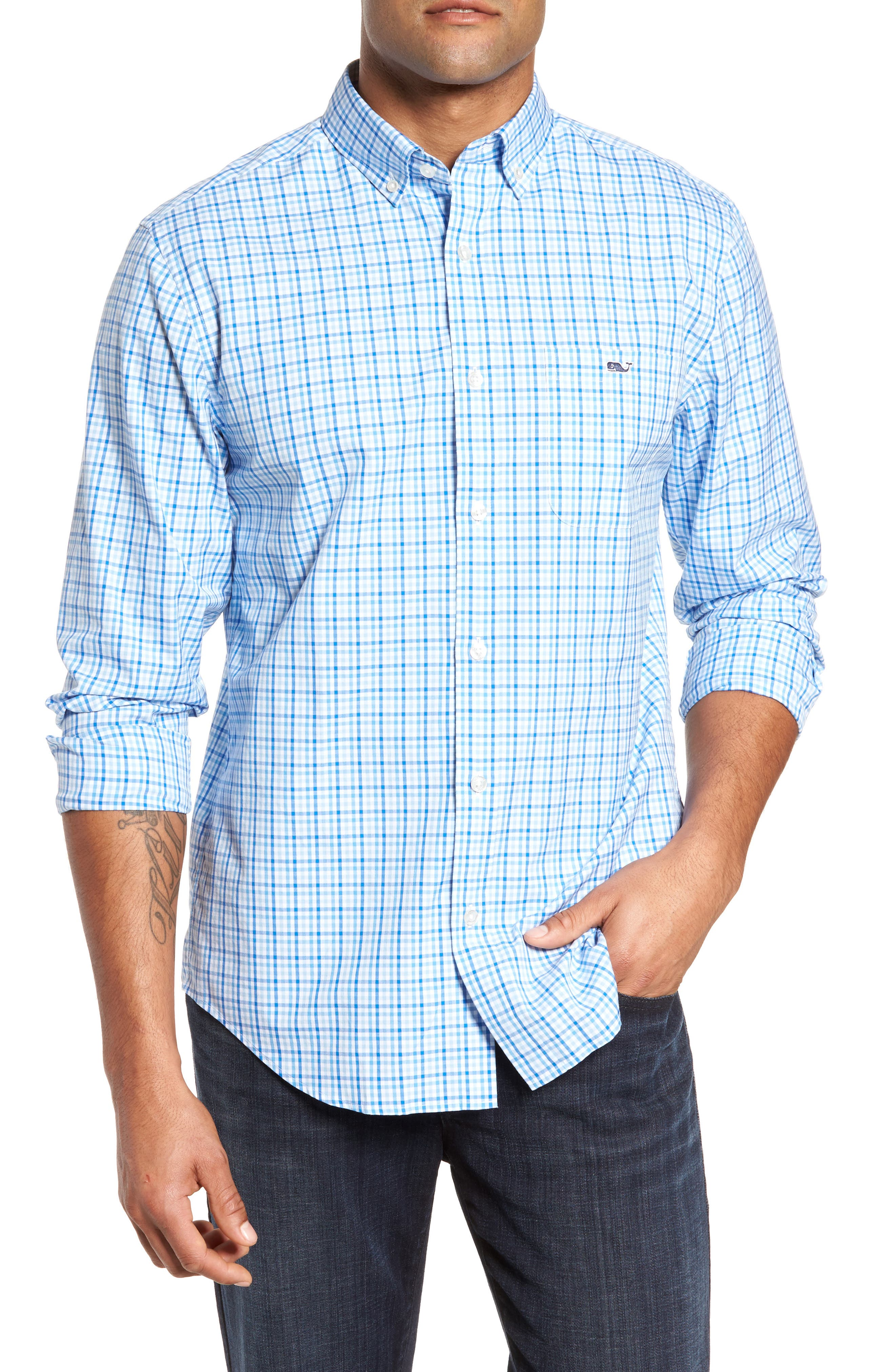 Munroe Tucker Classic Fit Gingham Sport Shirt,                         Main,                         color, Jake Blue