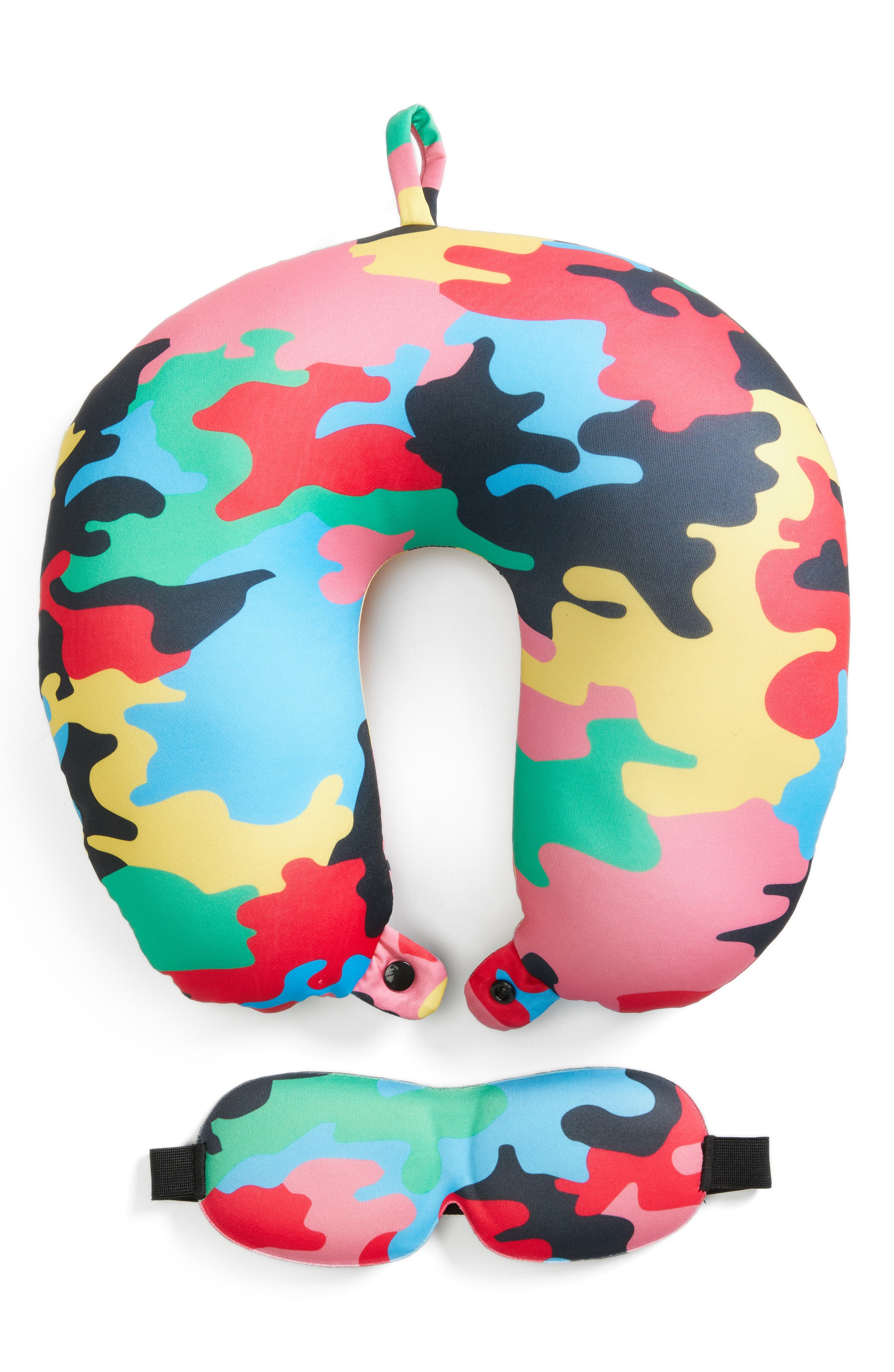 Neck Pillow & Eye Mask Set,                             Main thumbnail 1, color,                             Camo Multi
