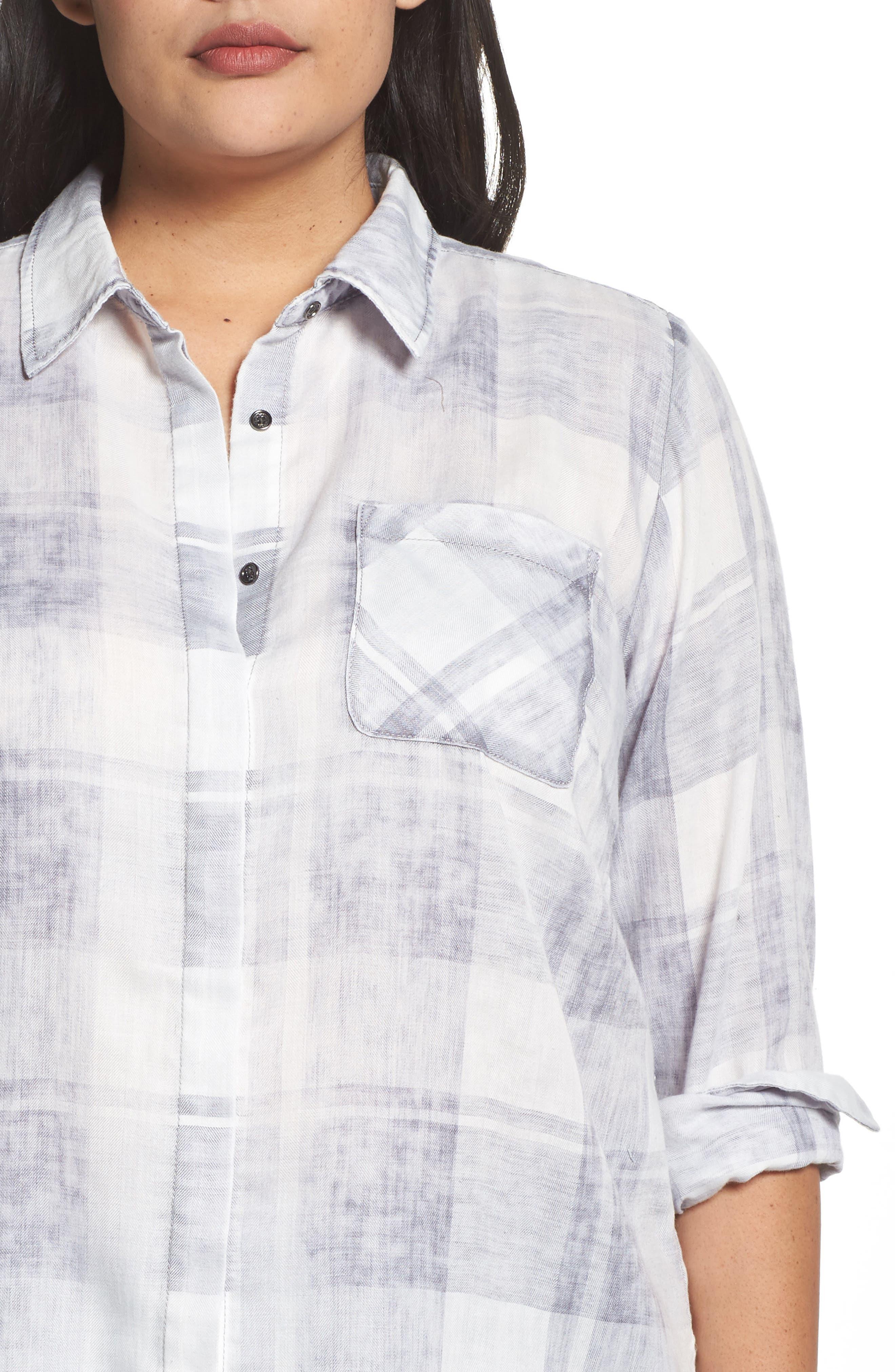 Alternate Image 4  - Two by Vince Camuto Quaint Plaid Button Down Shirt (Plus Size)