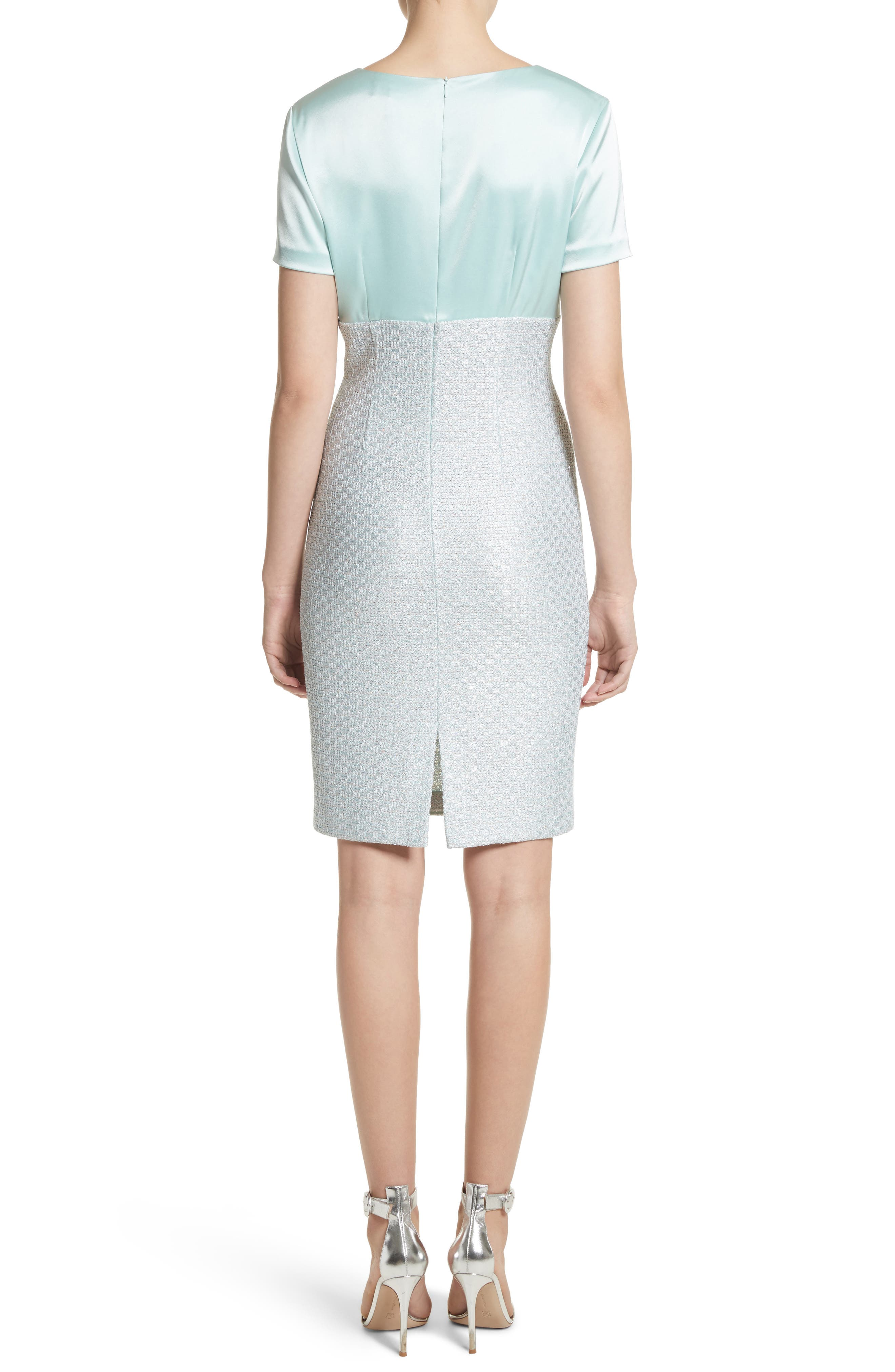 Hansh Satin & Knit Sheath Dress,                             Alternate thumbnail 2, color,                             Mint