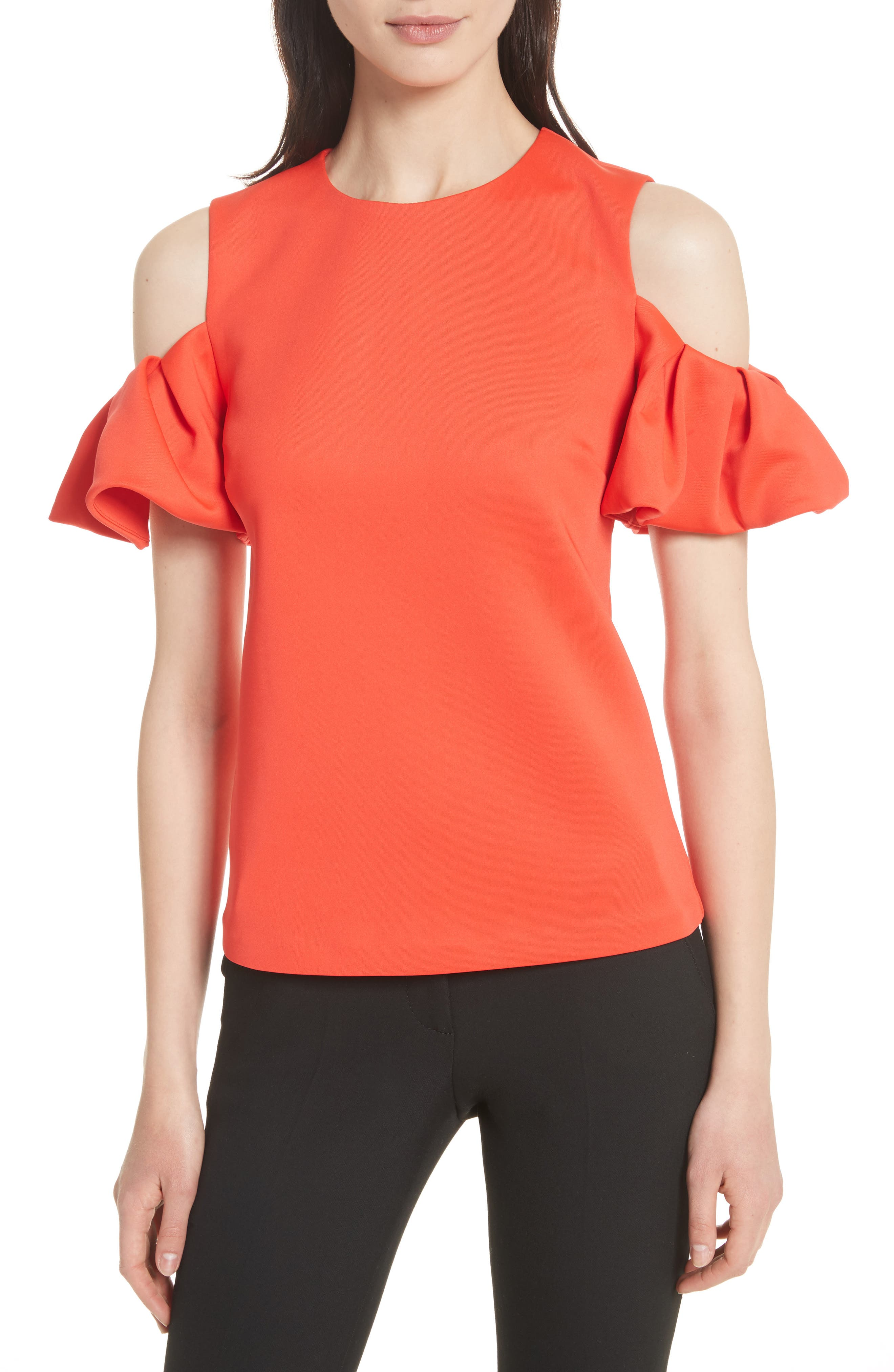 Cold Shoulder Pleated Sleeve Top,                         Main,                         color, Bright Red