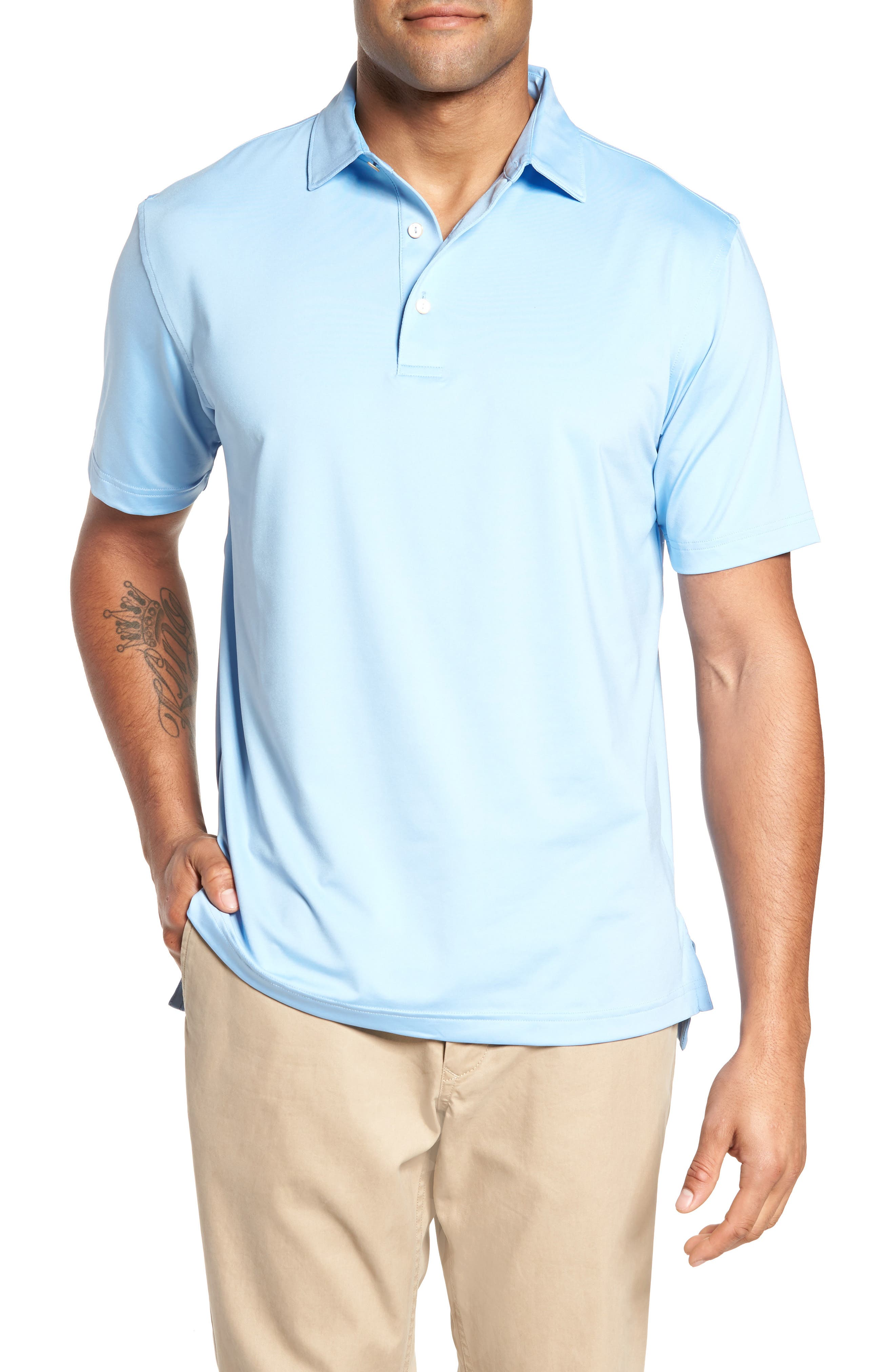 Stretch Jersey Polo,                         Main,                         color, Cottage Blue