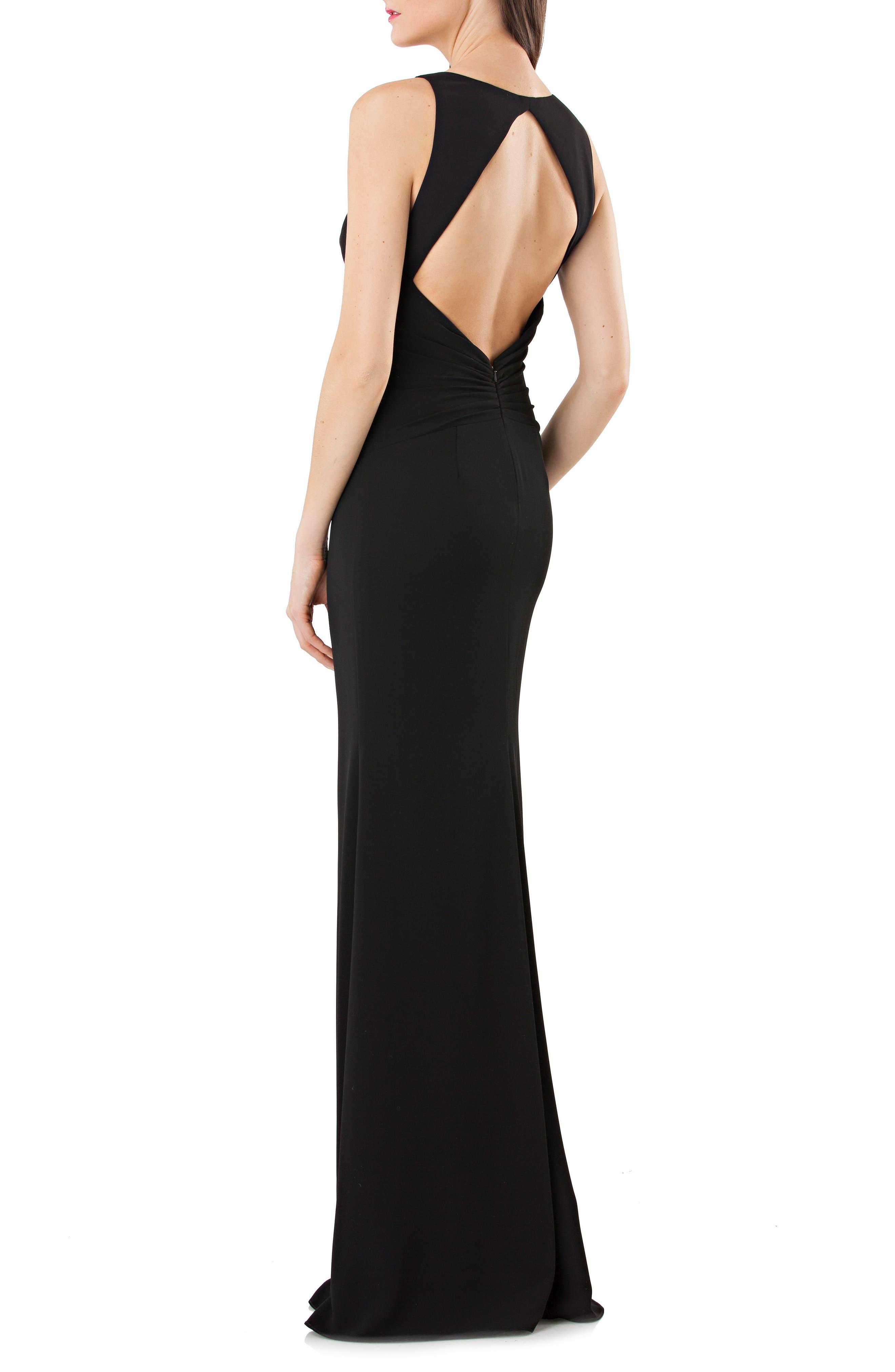 Back Cutout Crepe Gown,                             Alternate thumbnail 2, color,                             Black