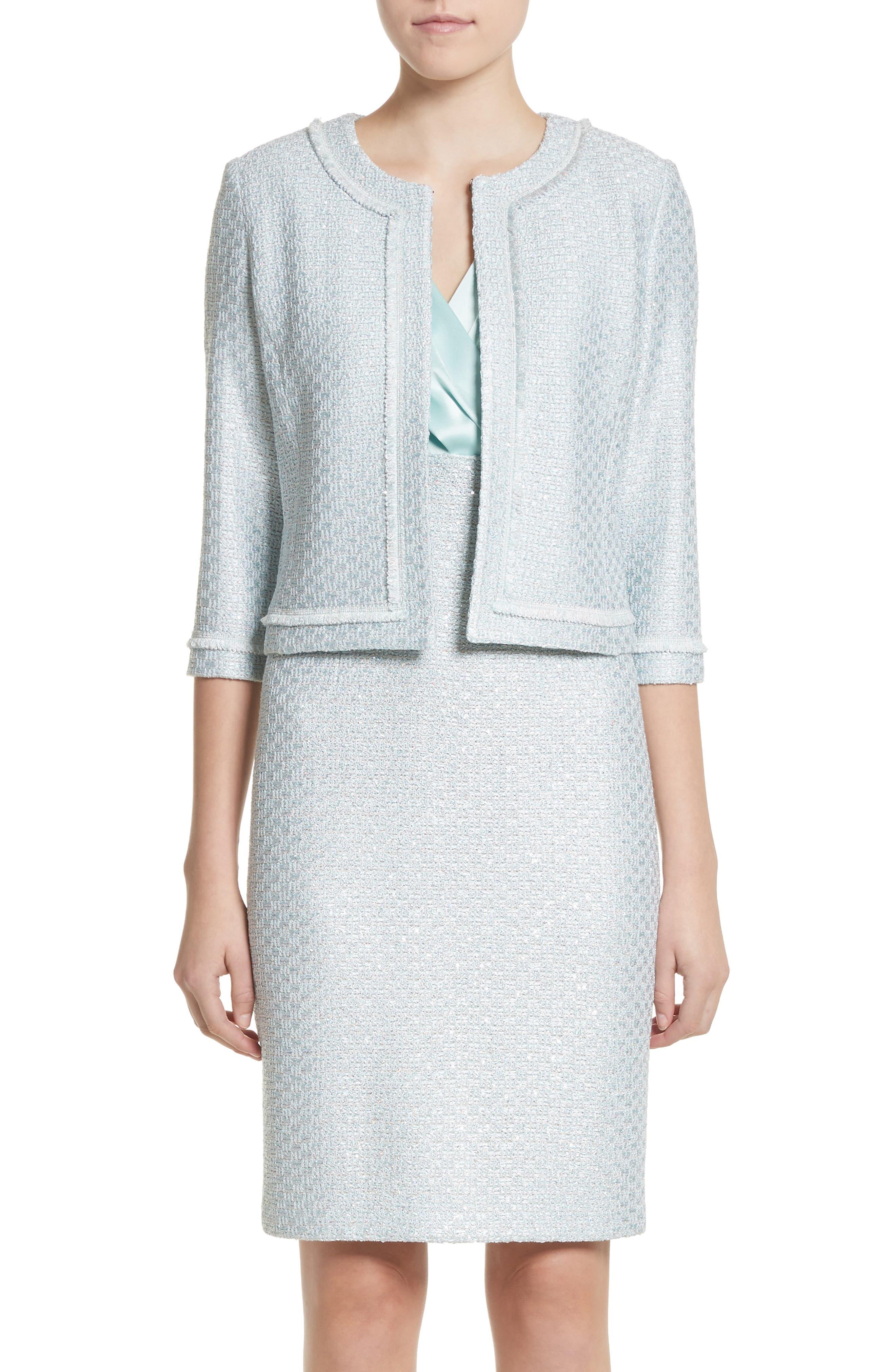 Hansh Sequin Knit Jacket,                         Main,                         color, Mint