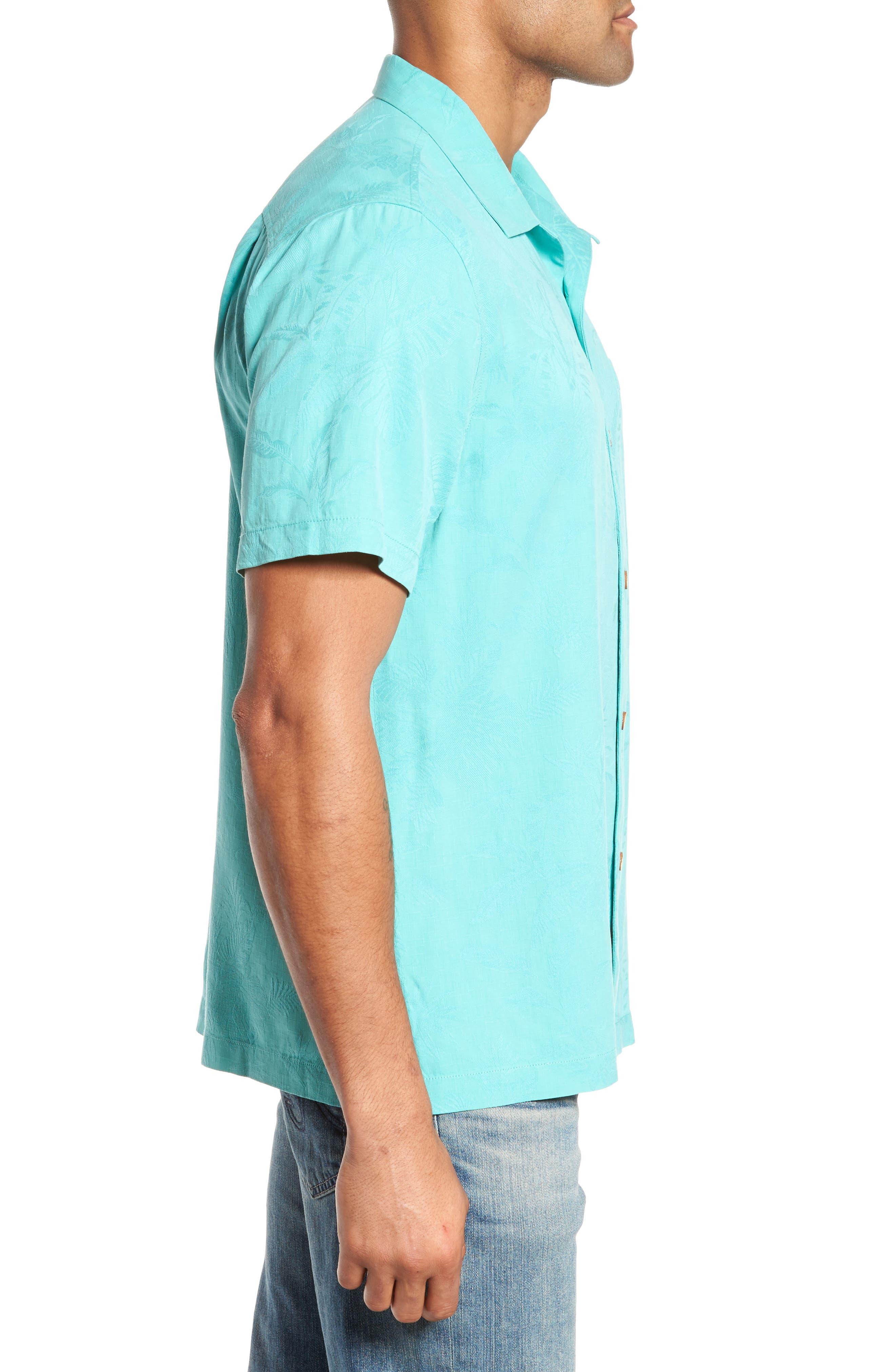 St Lucia Fronds Silk Camp Shirt,                             Alternate thumbnail 3, color,                             Castaway Green