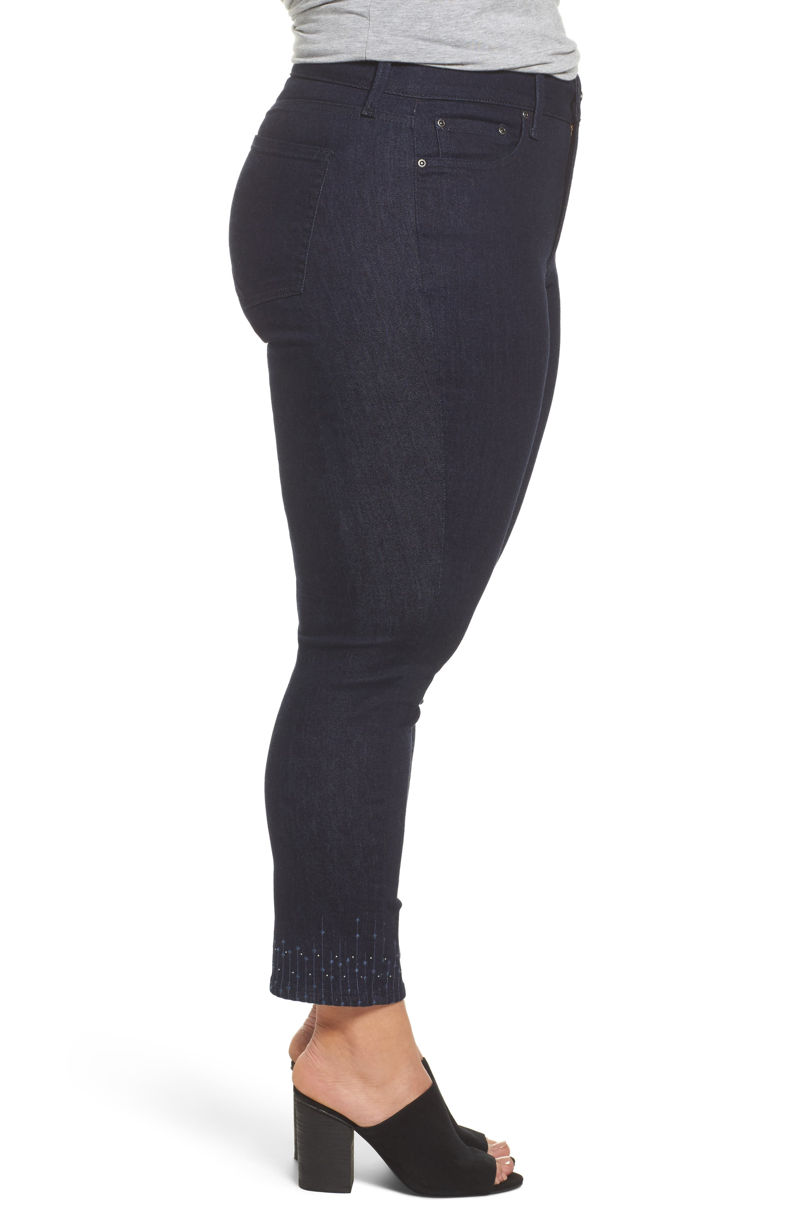 Alternate Image 3  - NYDJ Sheri Bling Hem Stretch Ankle Skinny Jeans (Plus Size)