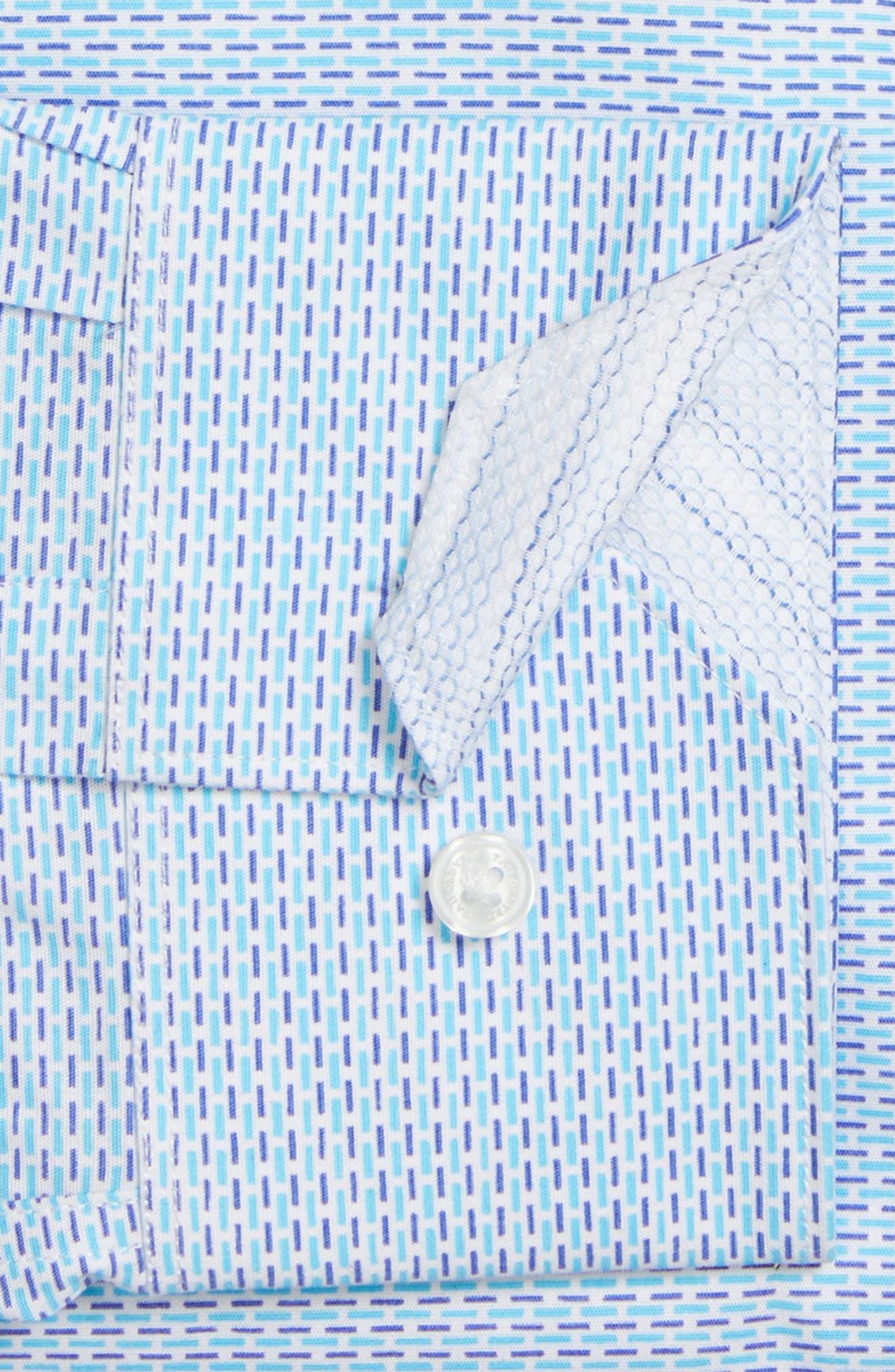 Trim Fit Geometric Dress Shirt,                             Alternate thumbnail 3, color,                             Aqua