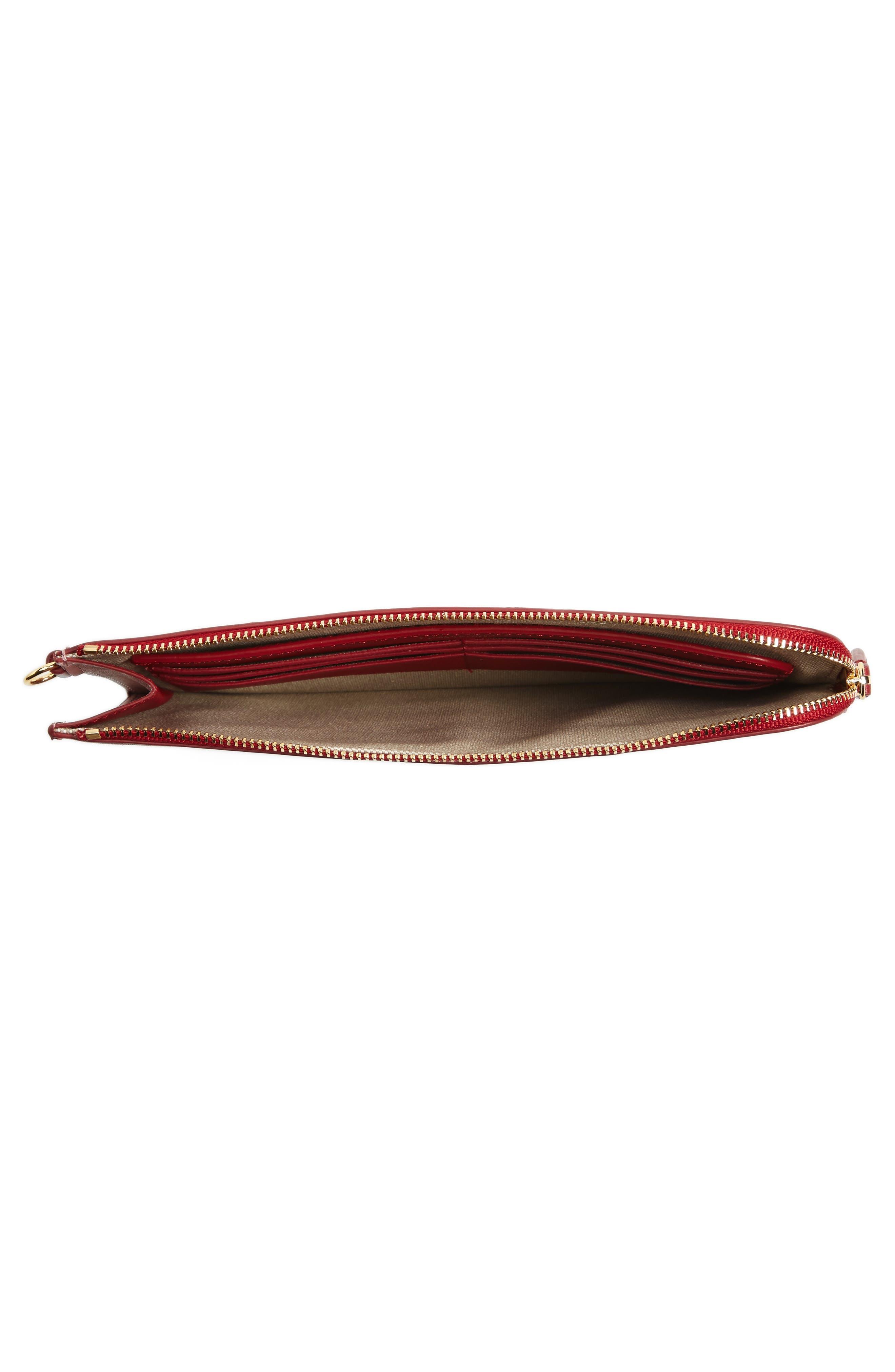 Medium Leather Zip Pouch,                             Alternate thumbnail 4, color,                             Purple