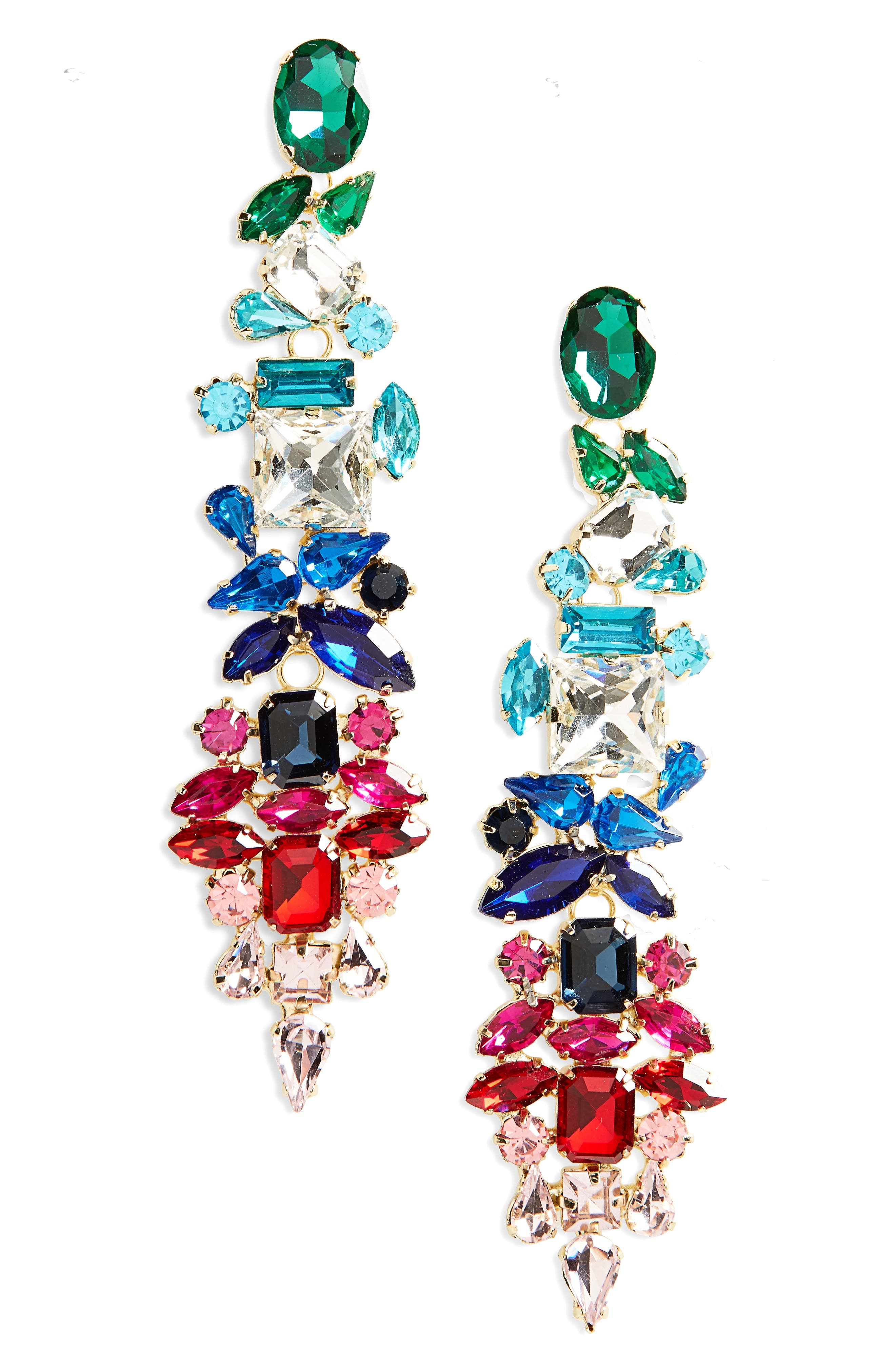 Dynasty Statement Earrings,                             Main thumbnail 1, color,                             Gold/ Multi