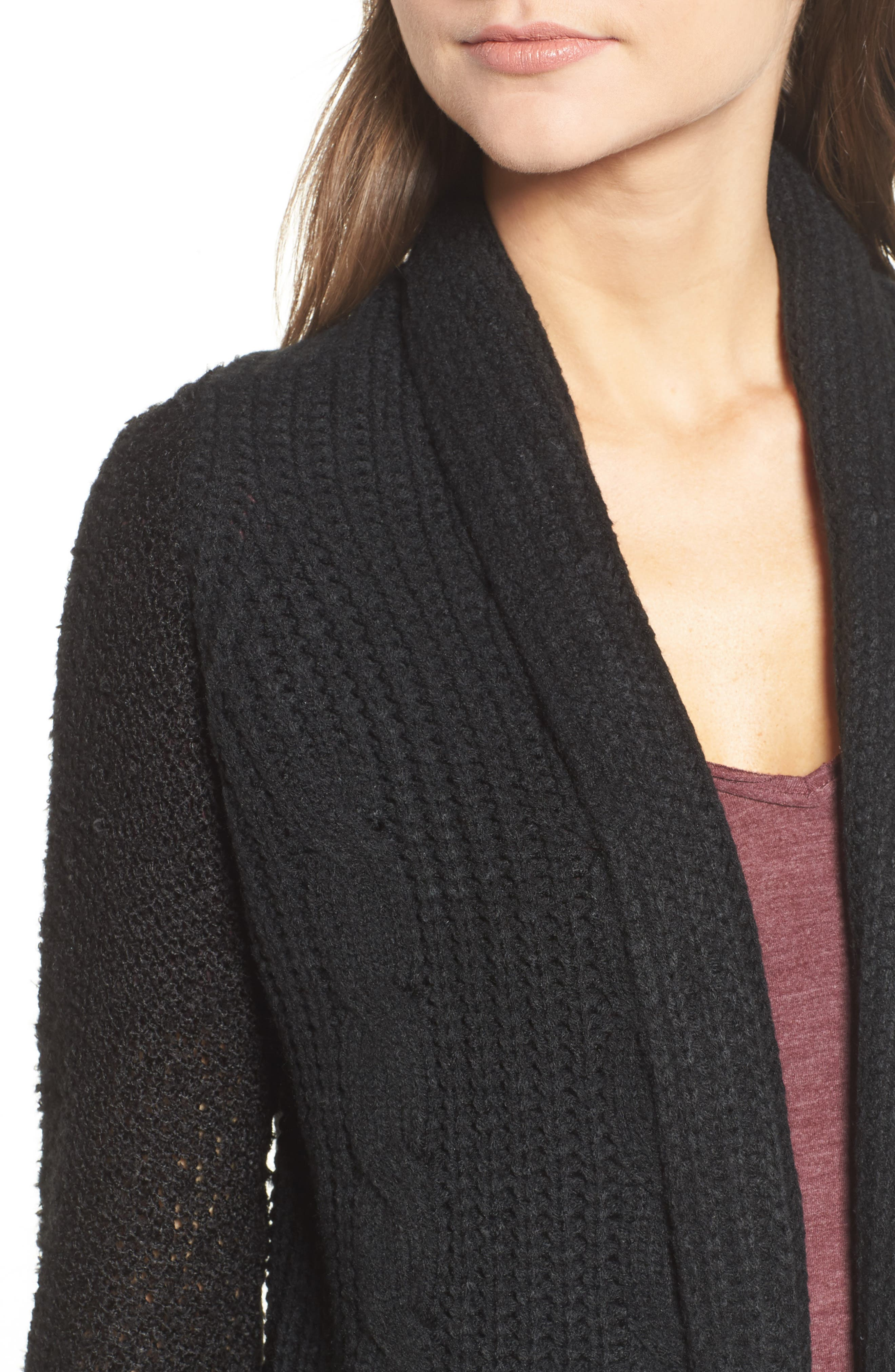 Alternate Image 4  - Cotton Emporium Mix Knit Cardigan